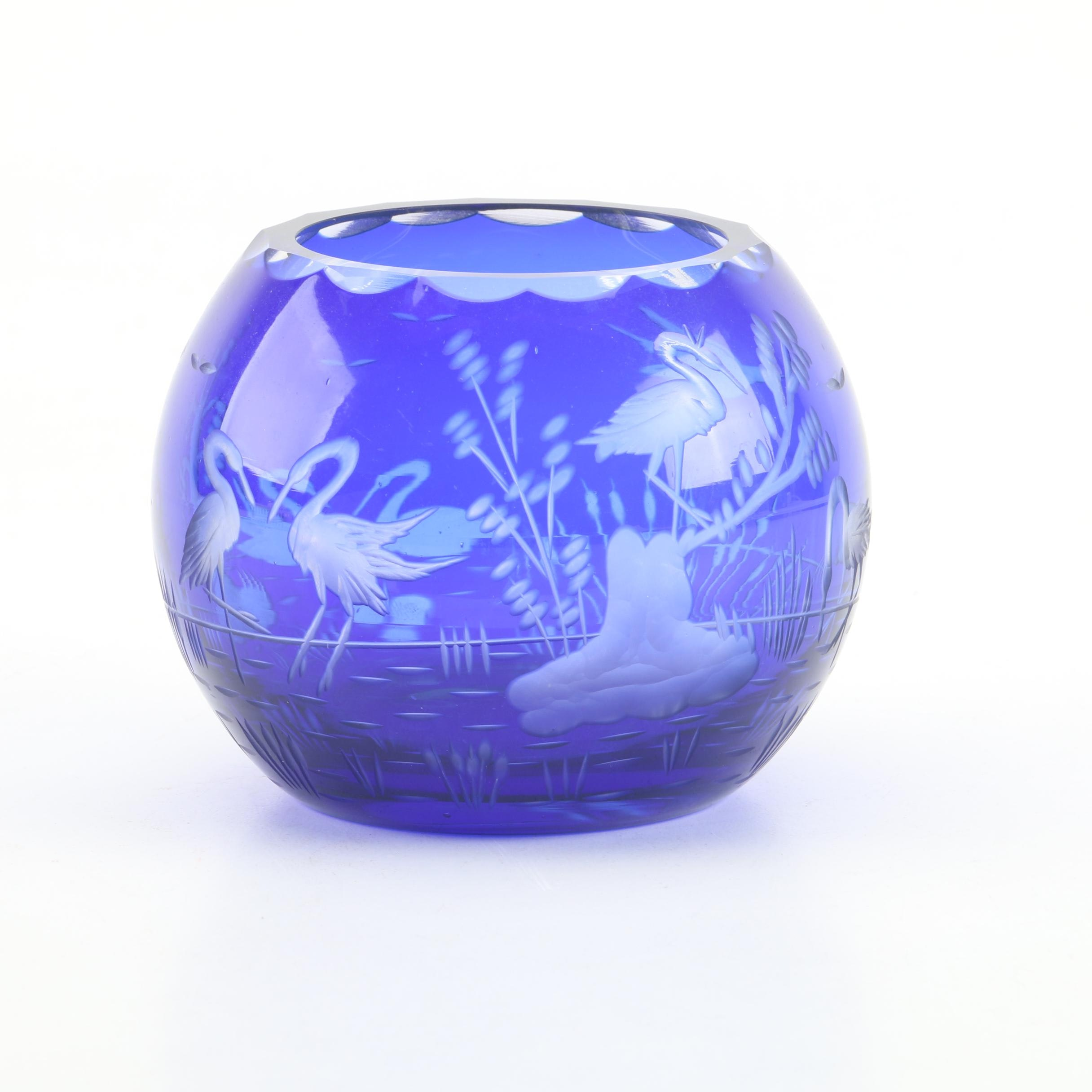 Vintage Blue Cut to Clear Crystal Rose Vase depicting a Waterfowl Scene