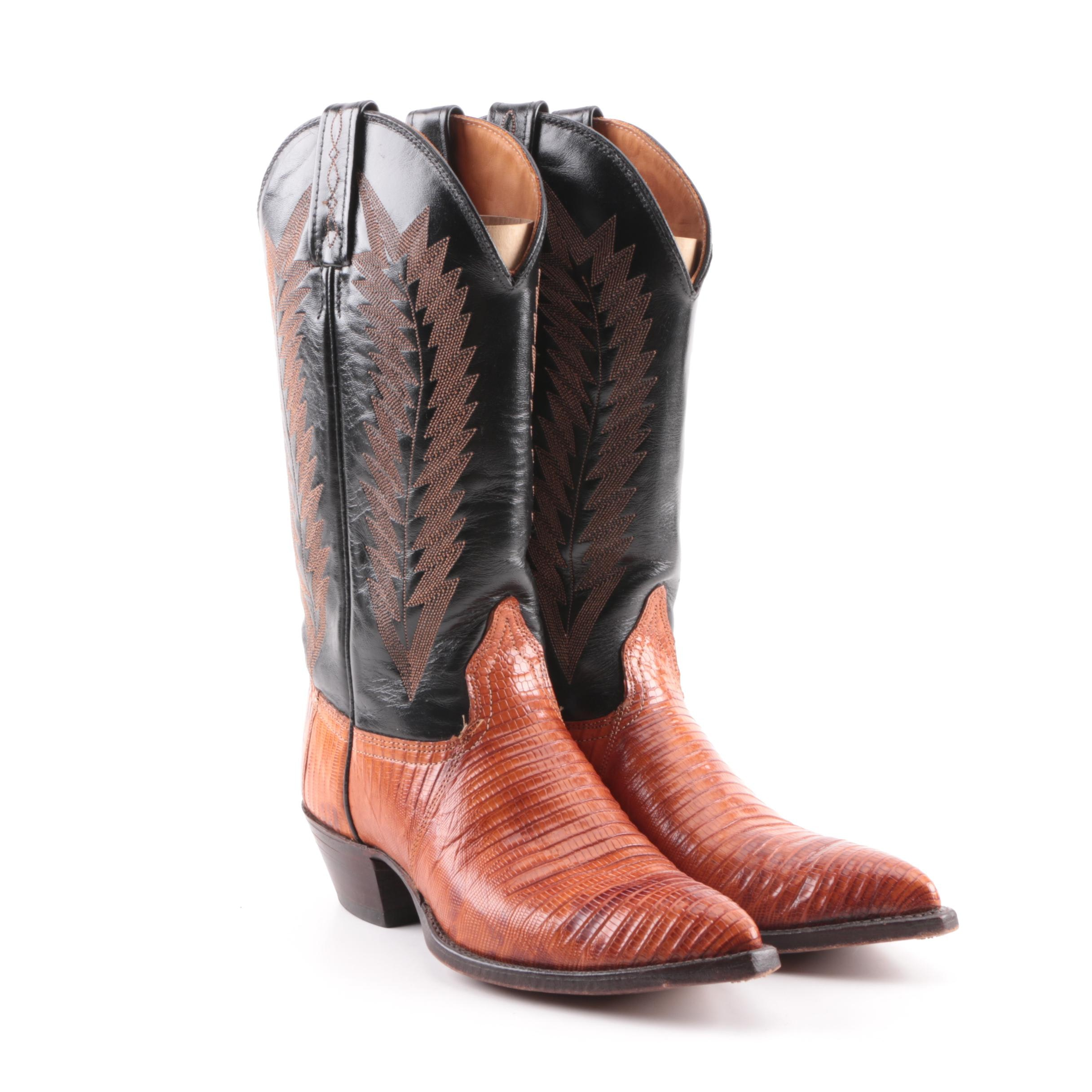 Women's Vintage J. Chisholm Leather and Lizard Skin Western Boots