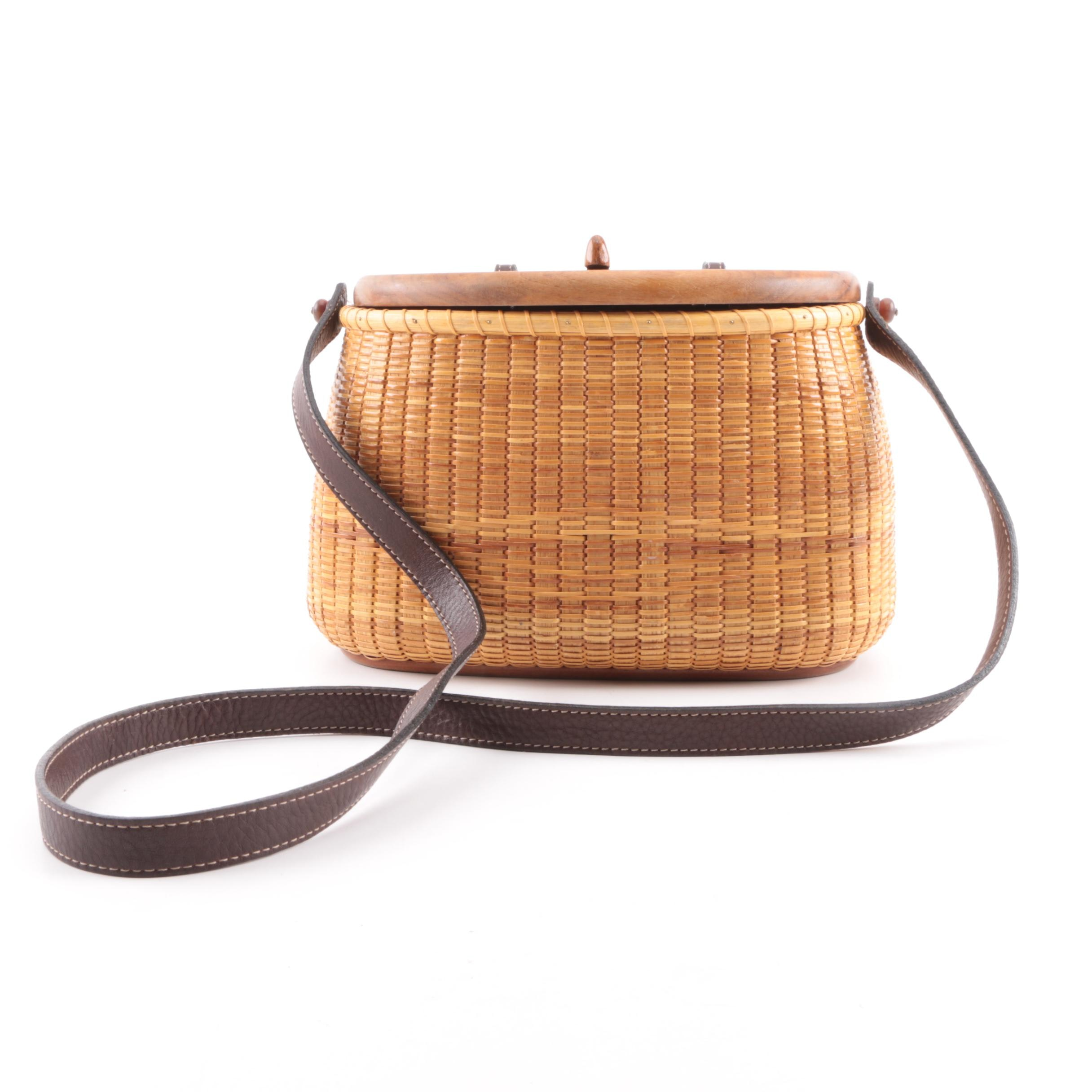 Woven Rattan Basket Bag with Wooden Lid and Leather Strap