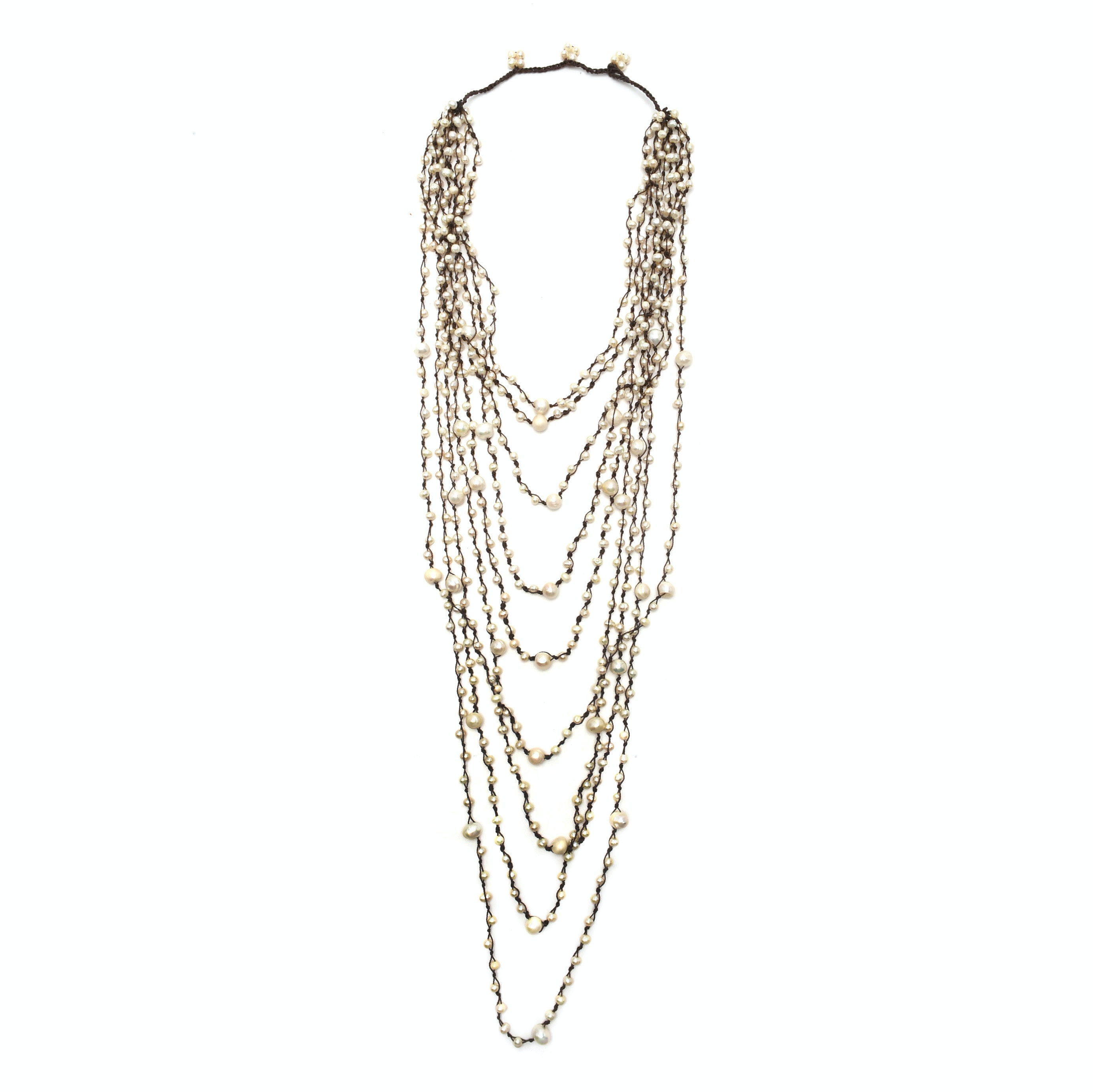 Nine-Strand Cultured Pearl Knotted Necklace