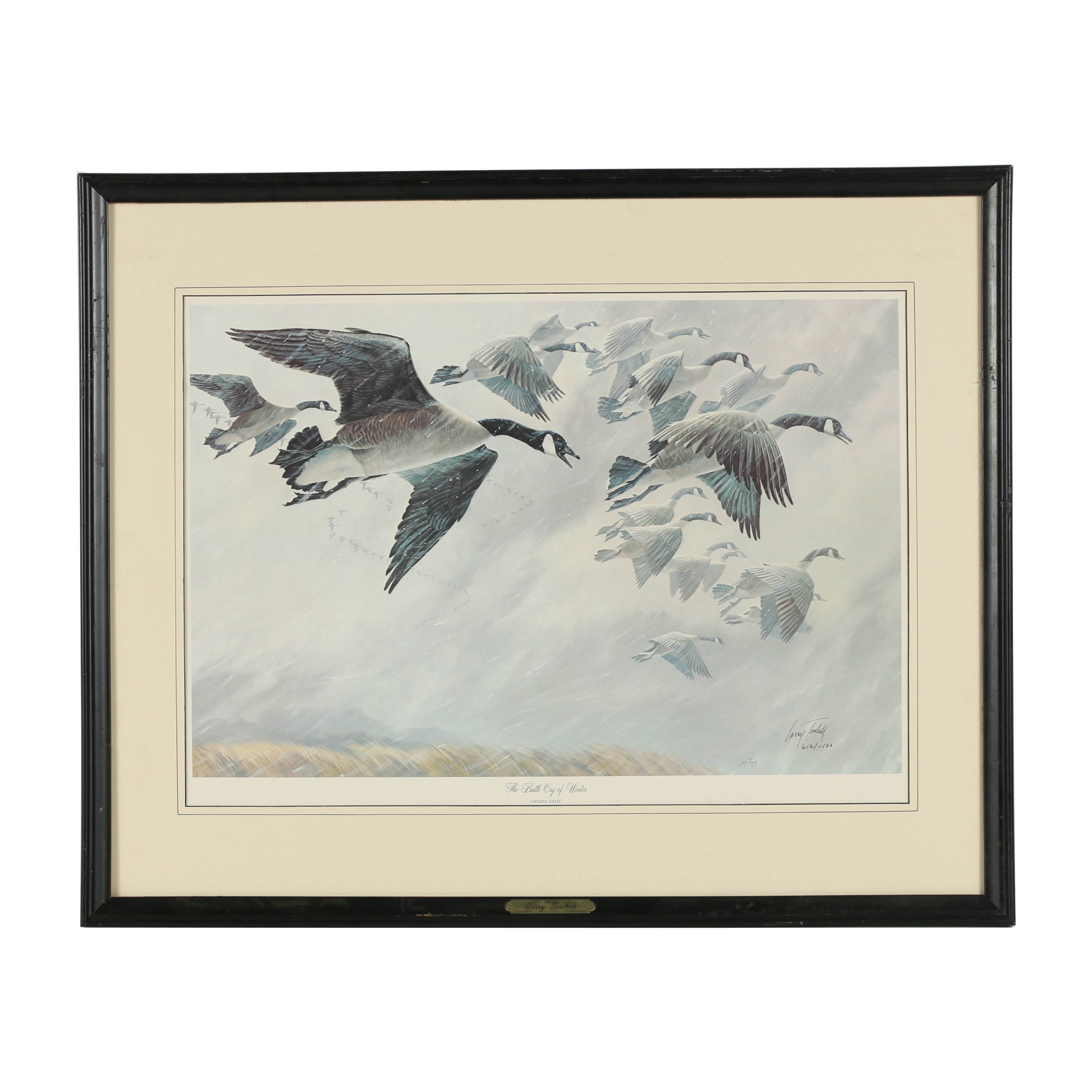 "Larry Toschik Offset Lithograph ""The Battle Cry of Winter - Canada Geese"""