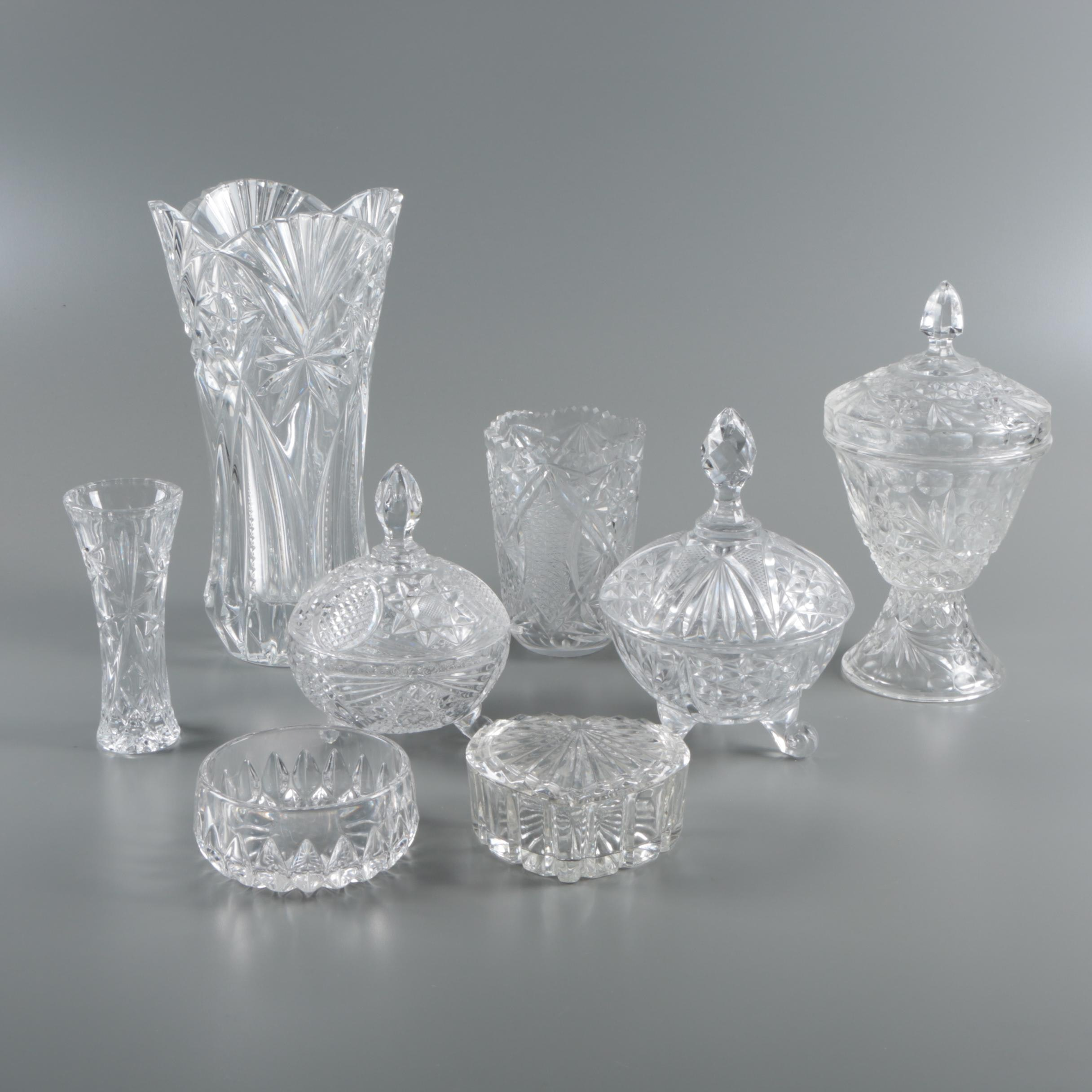 Cut Glass Candy Dishes and Vases