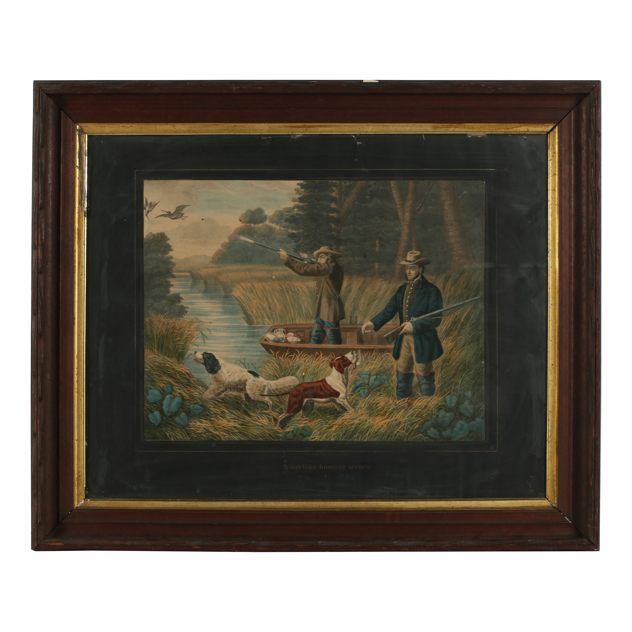 "Max Jacoby & Zeller Hand-Colored Lithograph ""American Hunting Scenes"""