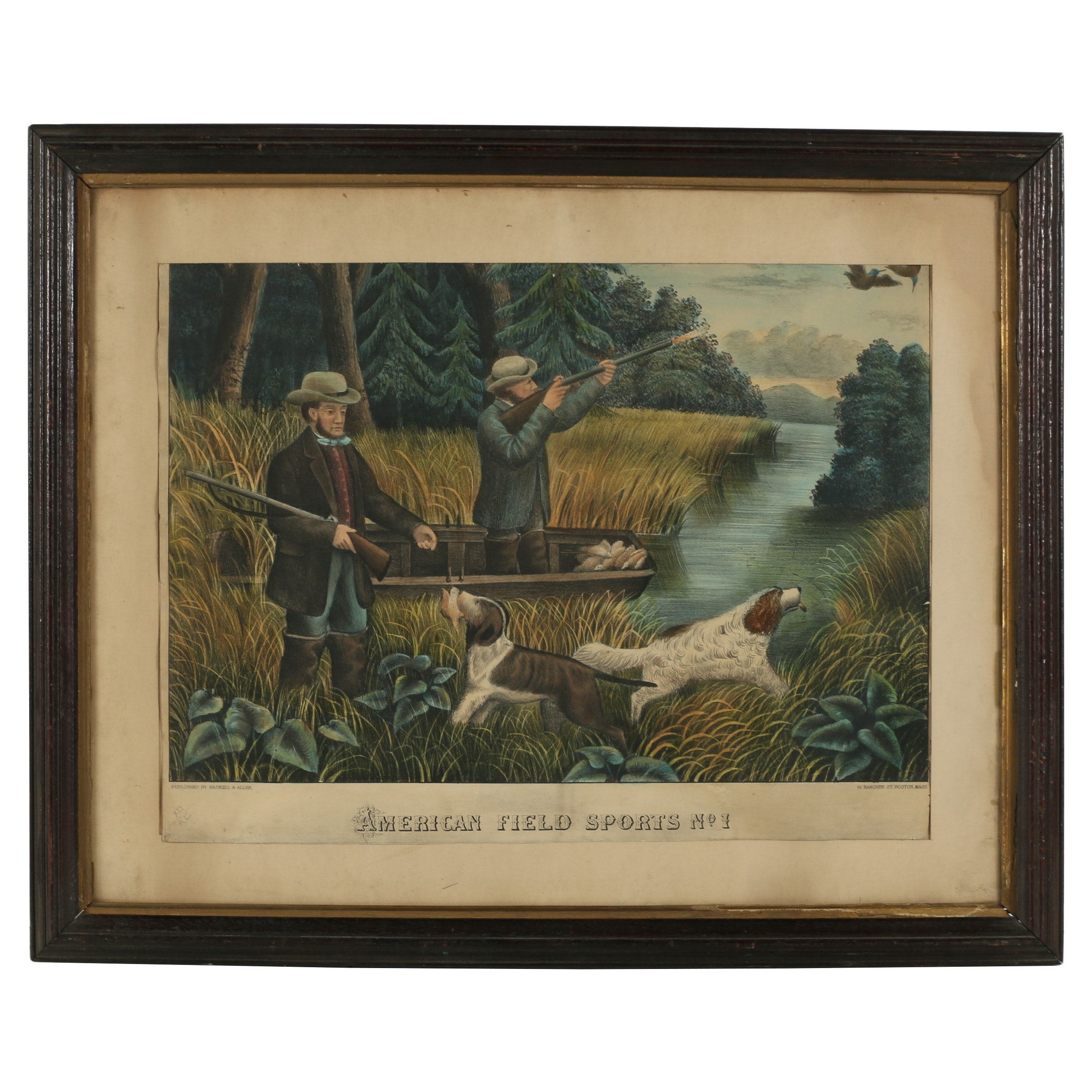 "Haskell & Allen Hand-Colored Lithograph ""American Field Sports No.1"""
