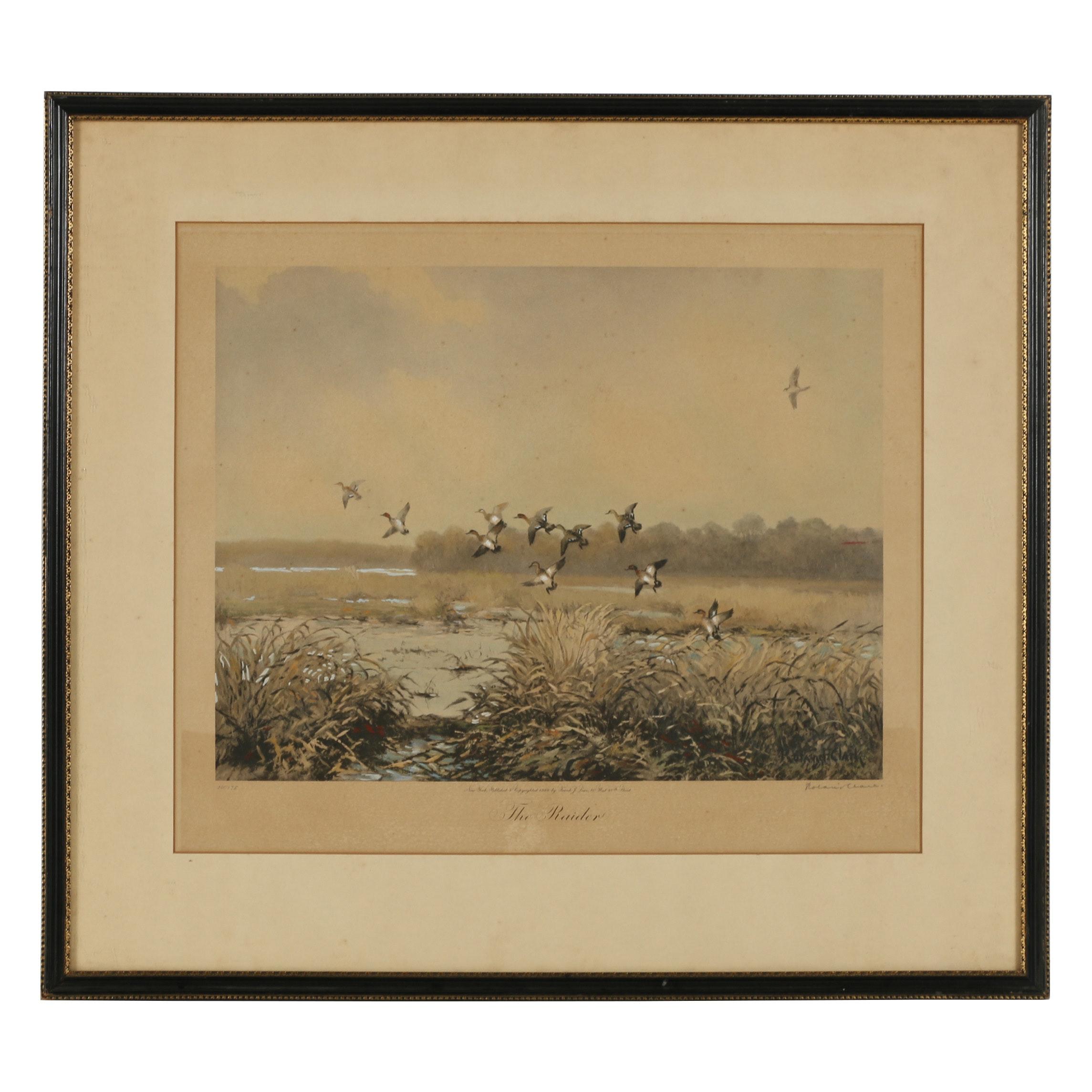 "Roland Clark Hand-Painted Photogravure ""The Raider"""