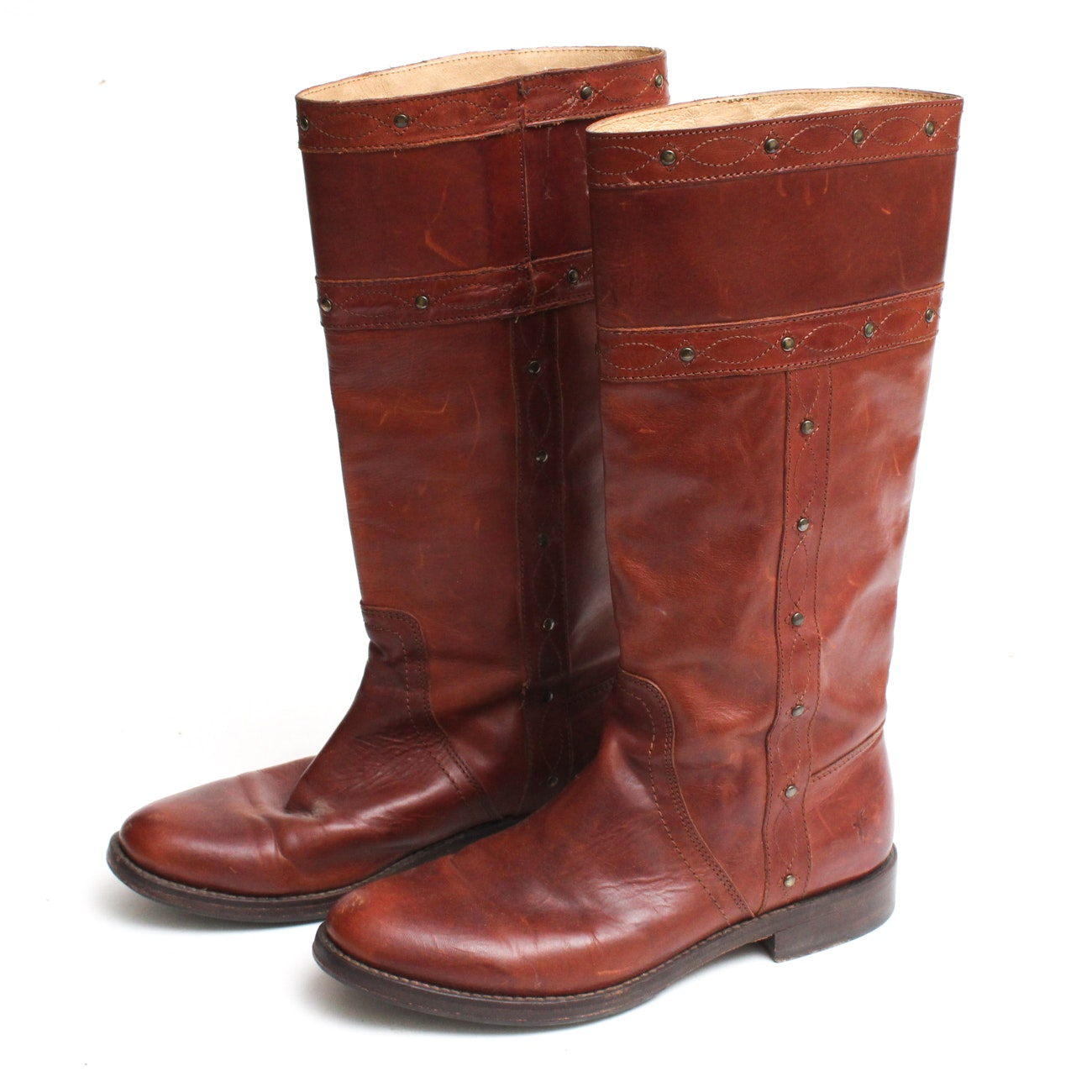 Frye Chestnut Leather Riding Boots