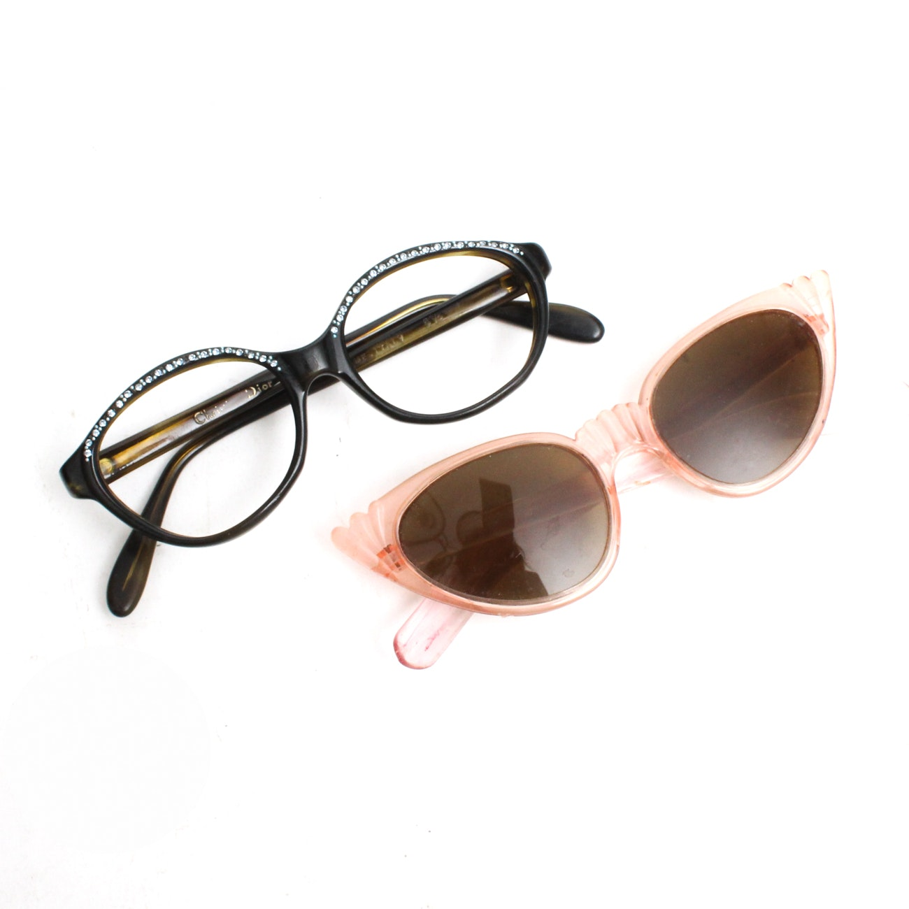 Vintage Christian Dior Eyeglass Frames and Pink Sunglasses