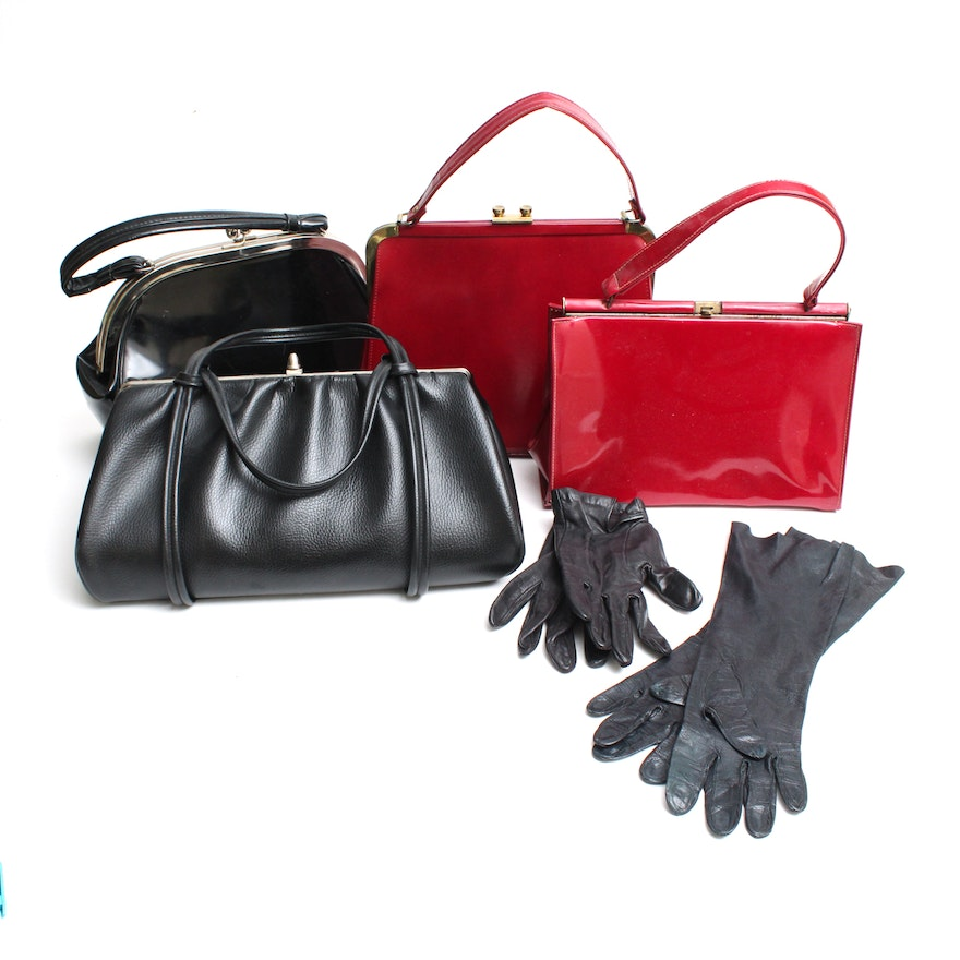 Circa 1950s 1960s Vintage Frame Handbags And Leather Gloves
