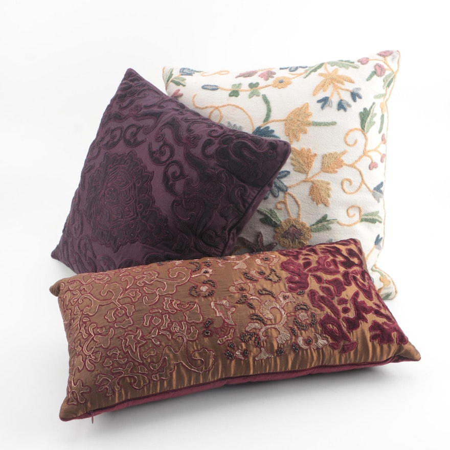 Purple Damask And Embroidered Throw Pillows Including Ralph Lauren Interesting Storehouse Brand Decorative Pillows