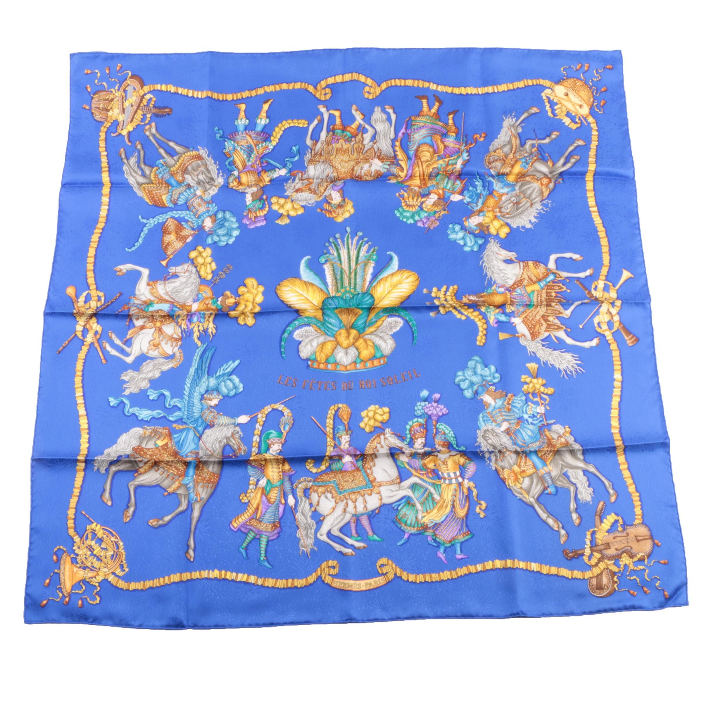 """Circa 1995 Vintage Hermès of Paris """"Les Fêtes du Roi Soleil"""" Silk Scarf"""