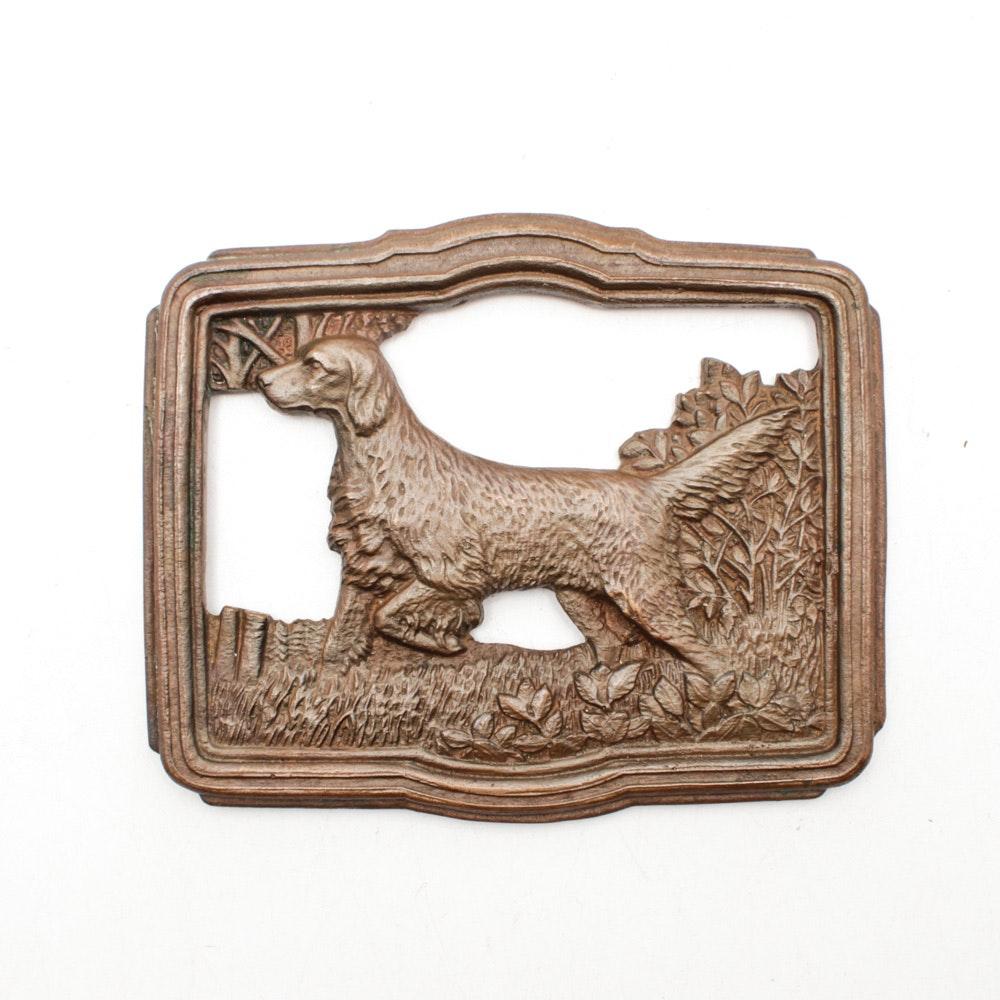 Bronze Patina Cast Metal Hunting Dog Plaque