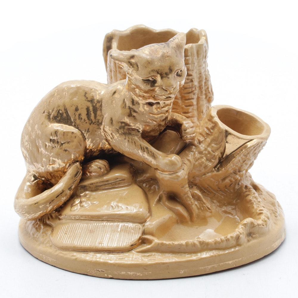 Antique Bernard Bloch Yellow Ware Cat Cigar and Match Holder