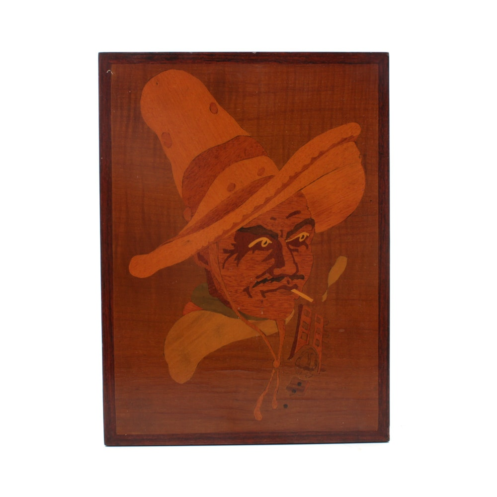Hand-Crafted Mexican Busker Marquetry Wall Plaque