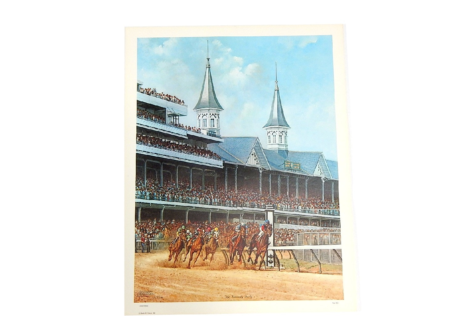 "Unframed 1980 C. W. Vittitow Signed Limited Lithograph ""The Kentucky Derby"""