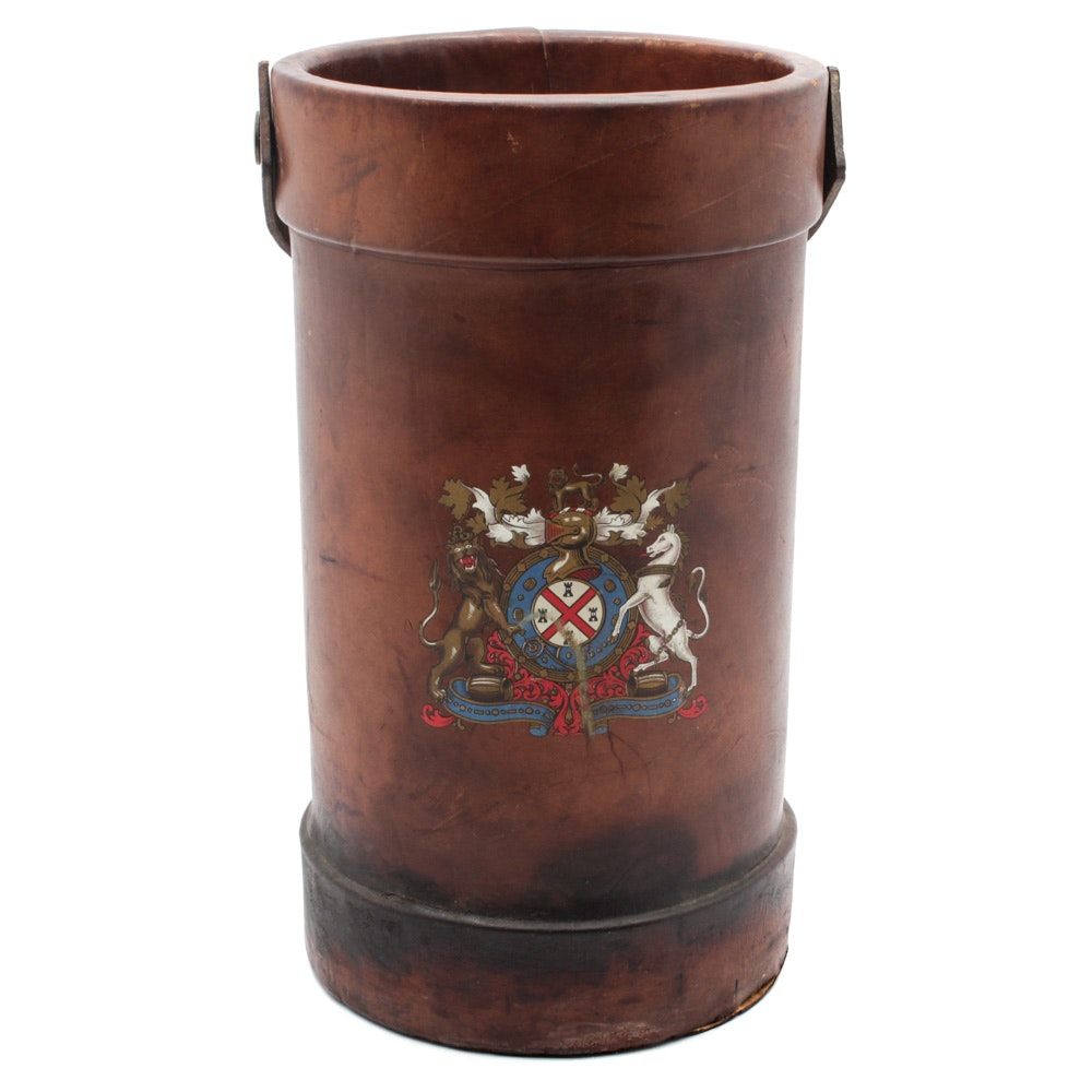 Vintage English Leather Water Bucket with Armorial Bearings
