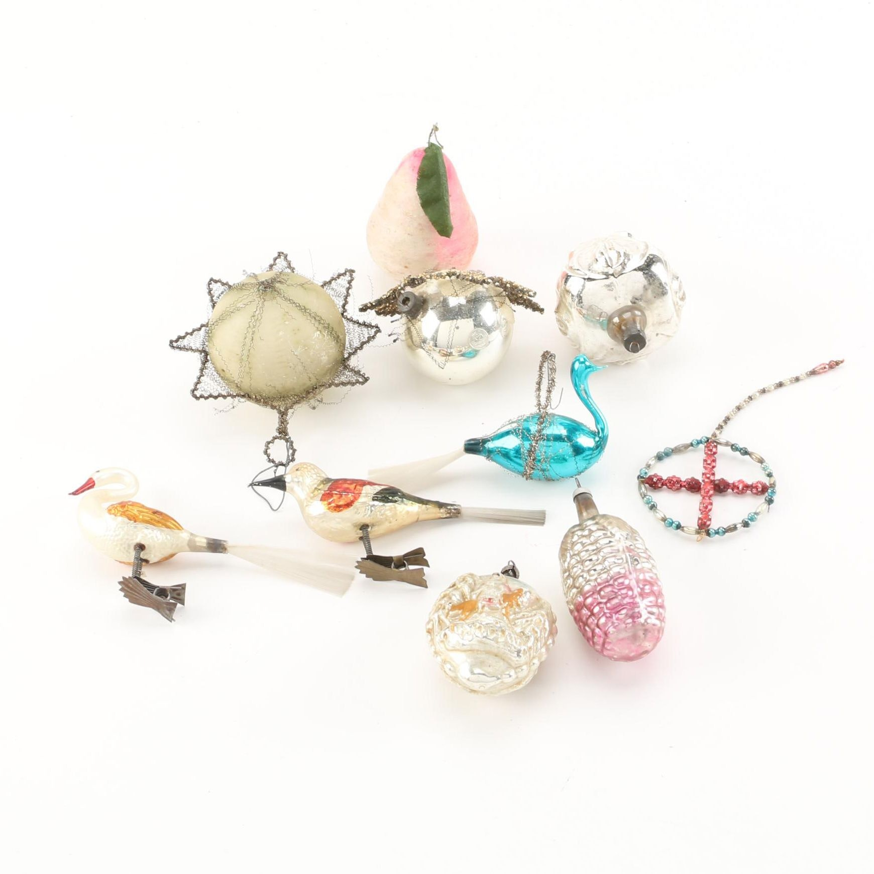 Vintage Glass, Wire and Clip-On Holiday Ornaments