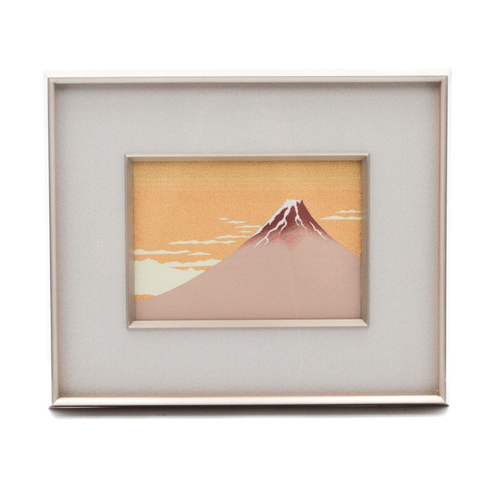 Japanese Woven Silk Art of Mt. Fuji