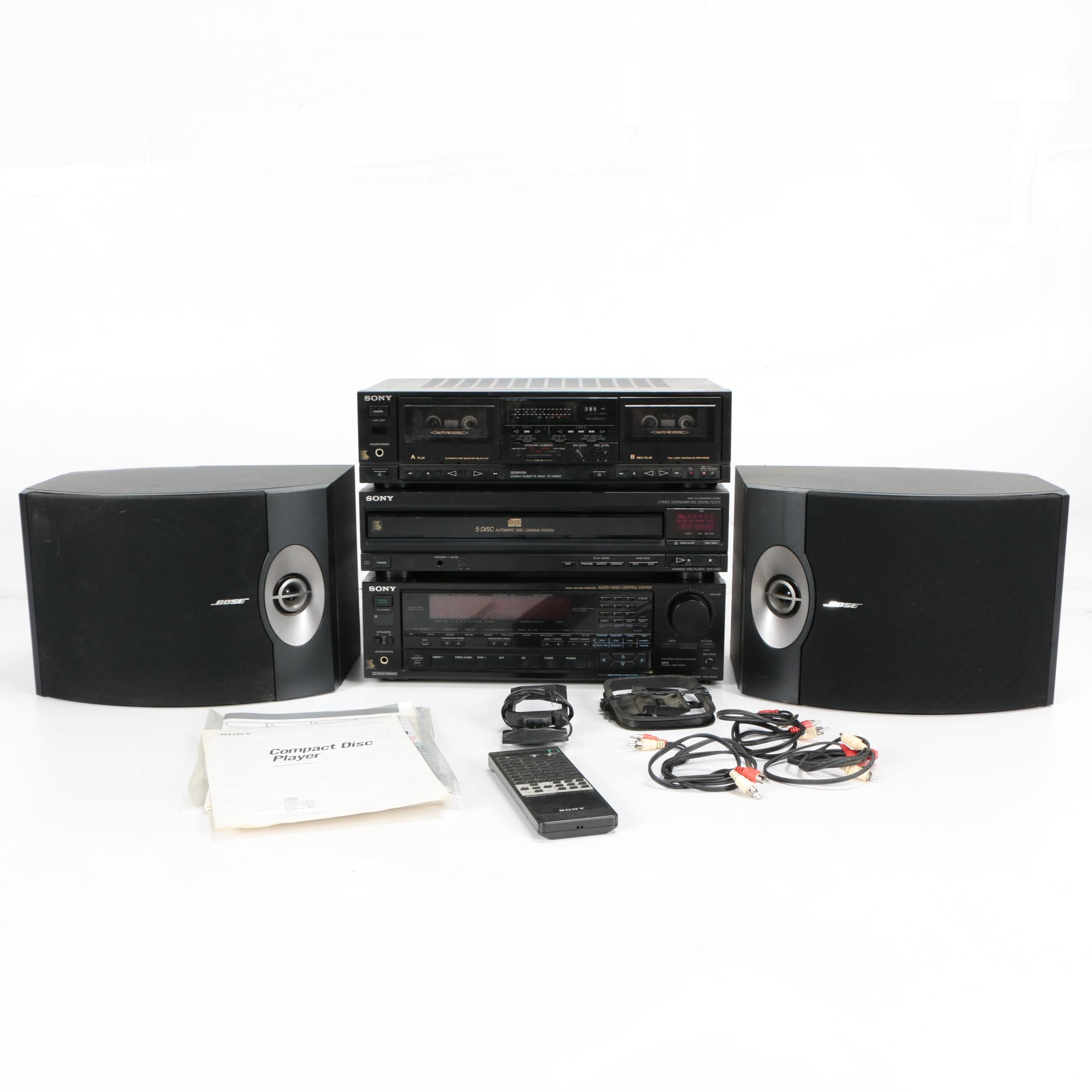 Bose 301 Series V Direct/Reflecting Shelf Speakers and Sony Stereo System