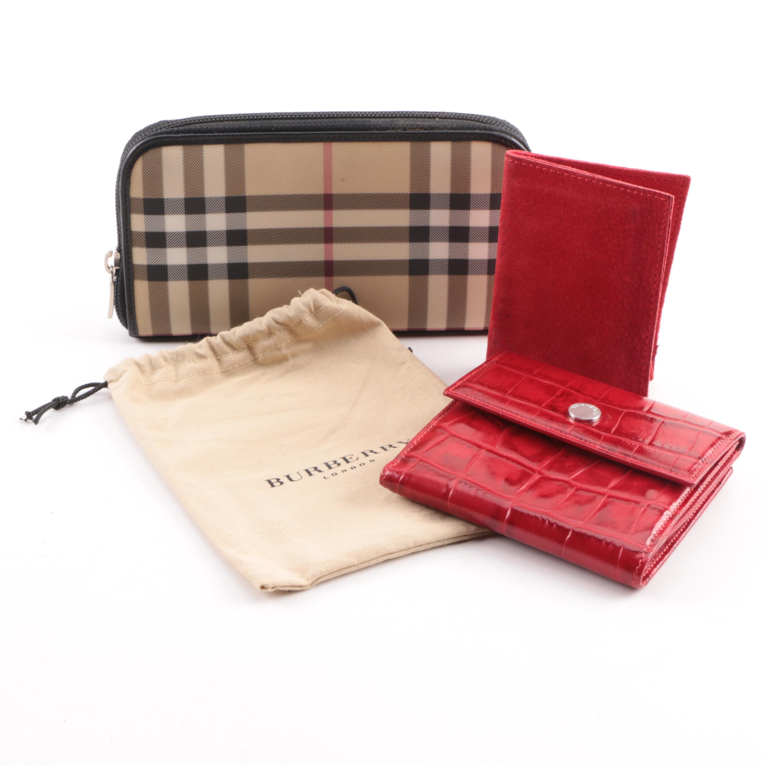 Burberry Coated Canvas and Embossed Leather Wallets with Cartier Suede Envelope