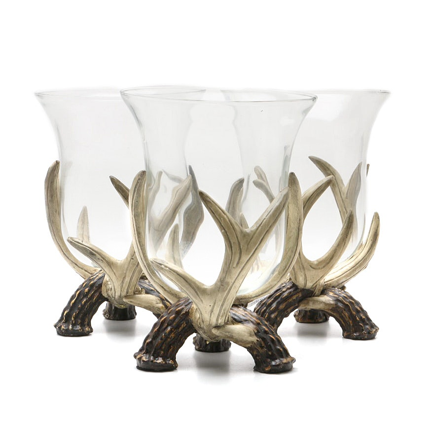 Set of Three Faux Antler and Glass Centerpiece Votives