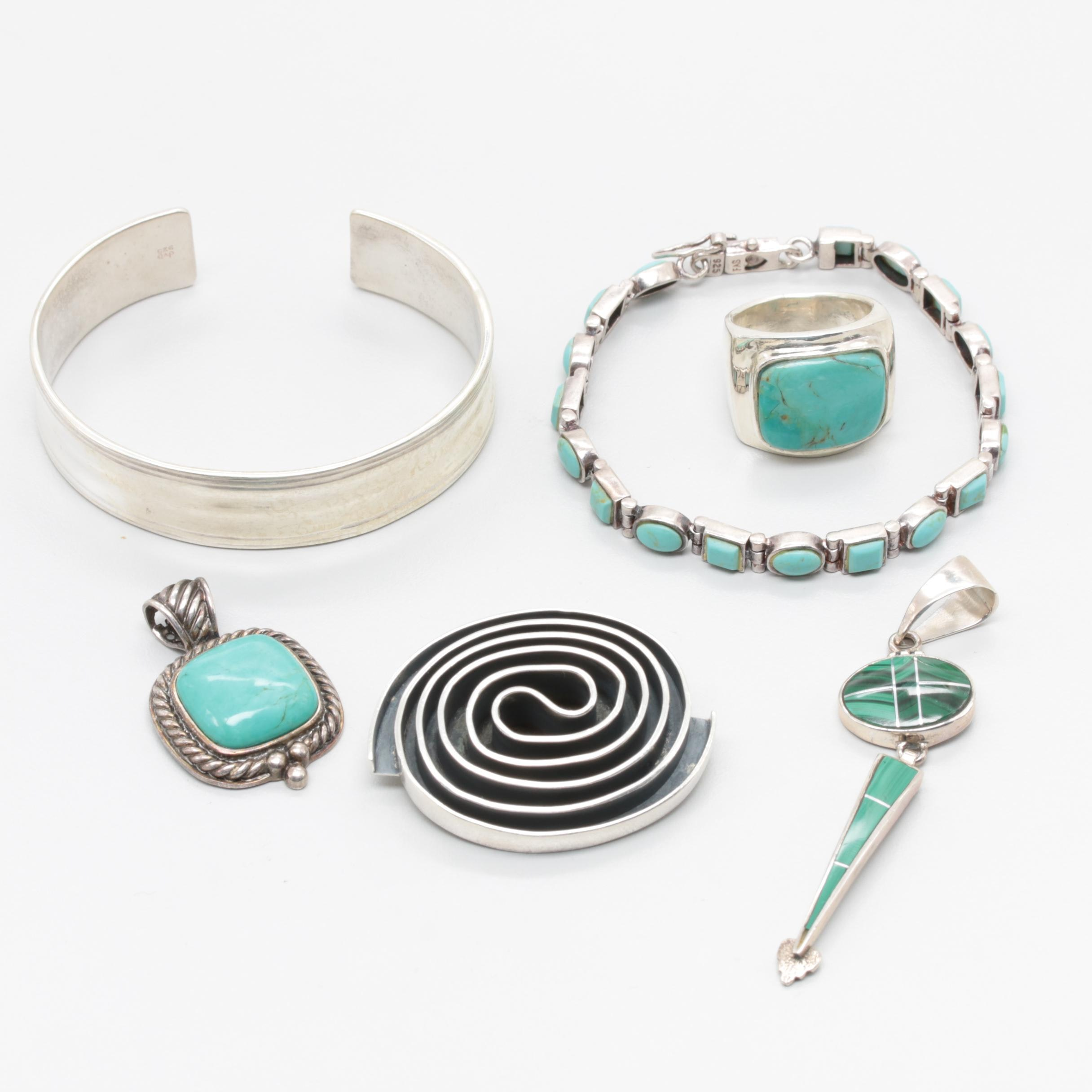 Assortment of Sterling Silver Jewelry Featuring Turquoise and Malachite