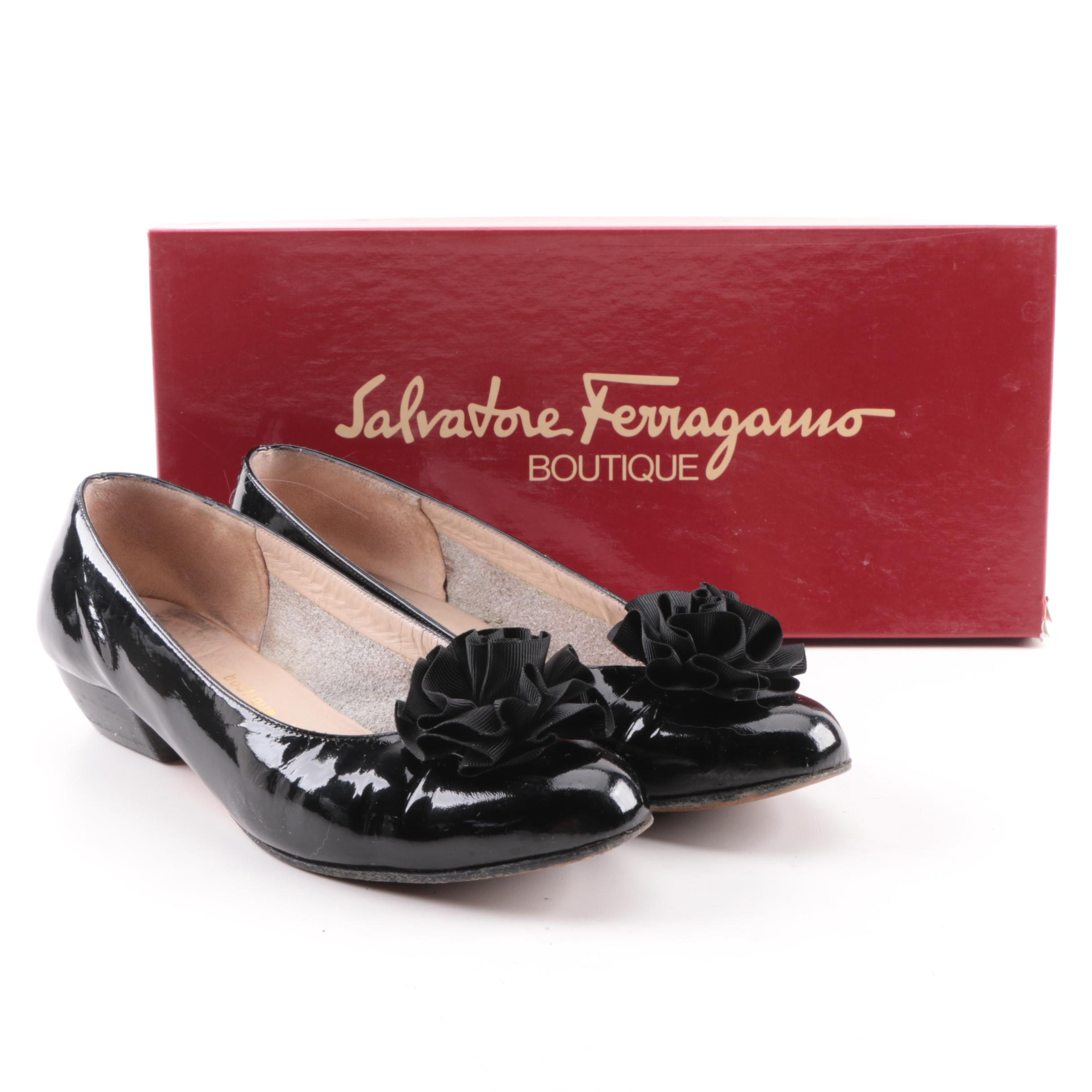 Salvatore Ferragamo Majorette Black Patent Leather Flats with Rosettes