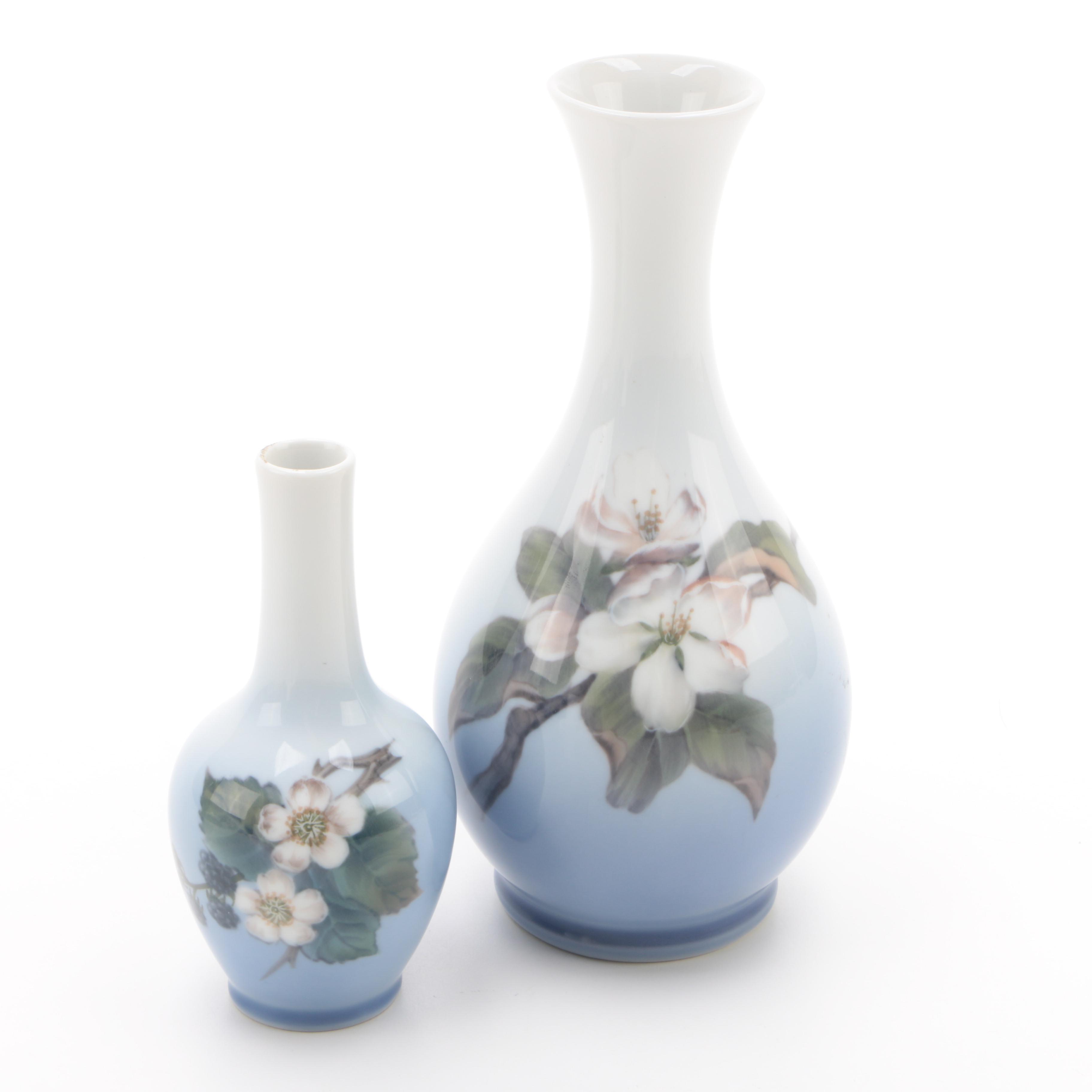 Royal Copenhagen Ceramic Vases Featuring Floral Motif