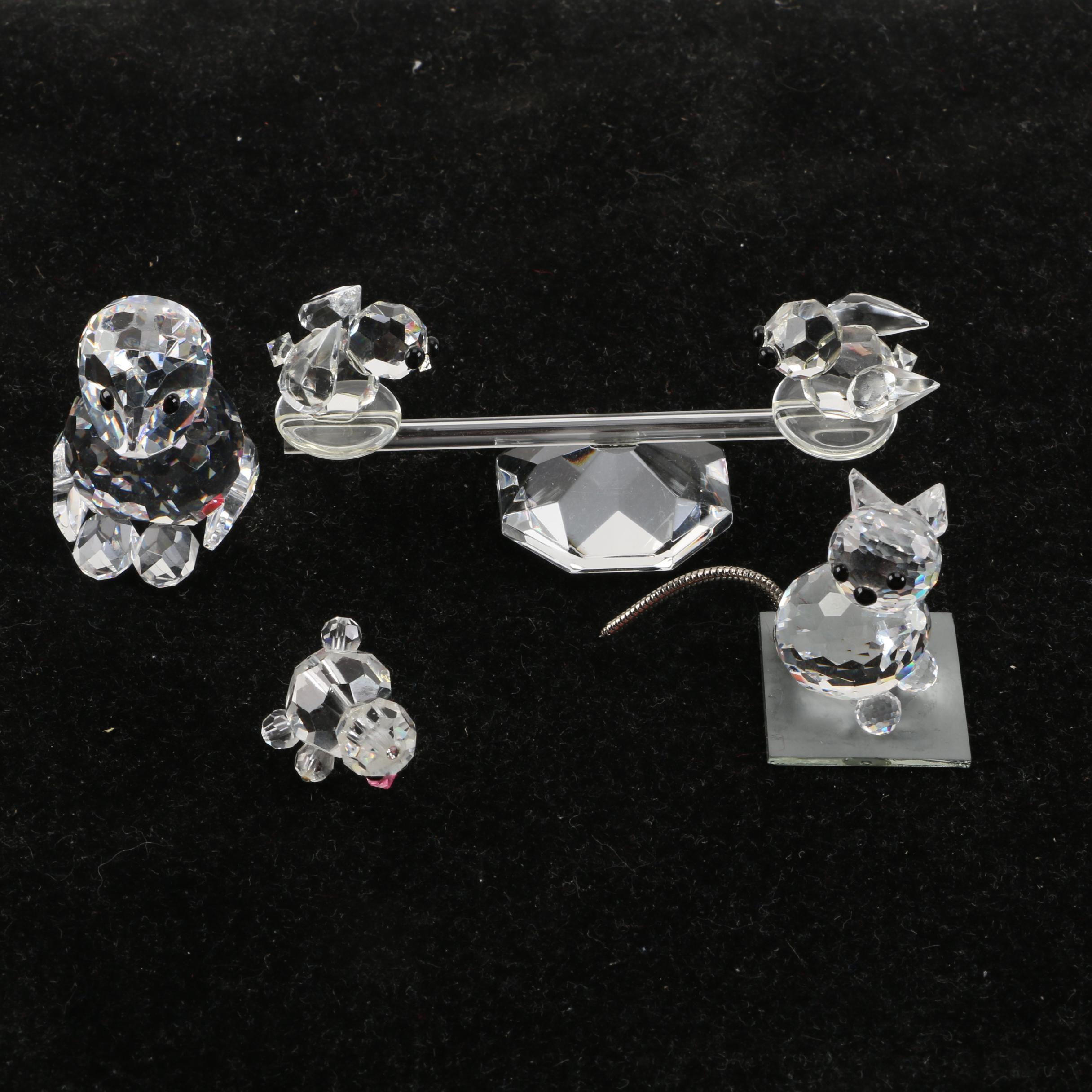Miniature Cut Crystal Animal Figurines Including Swarovski