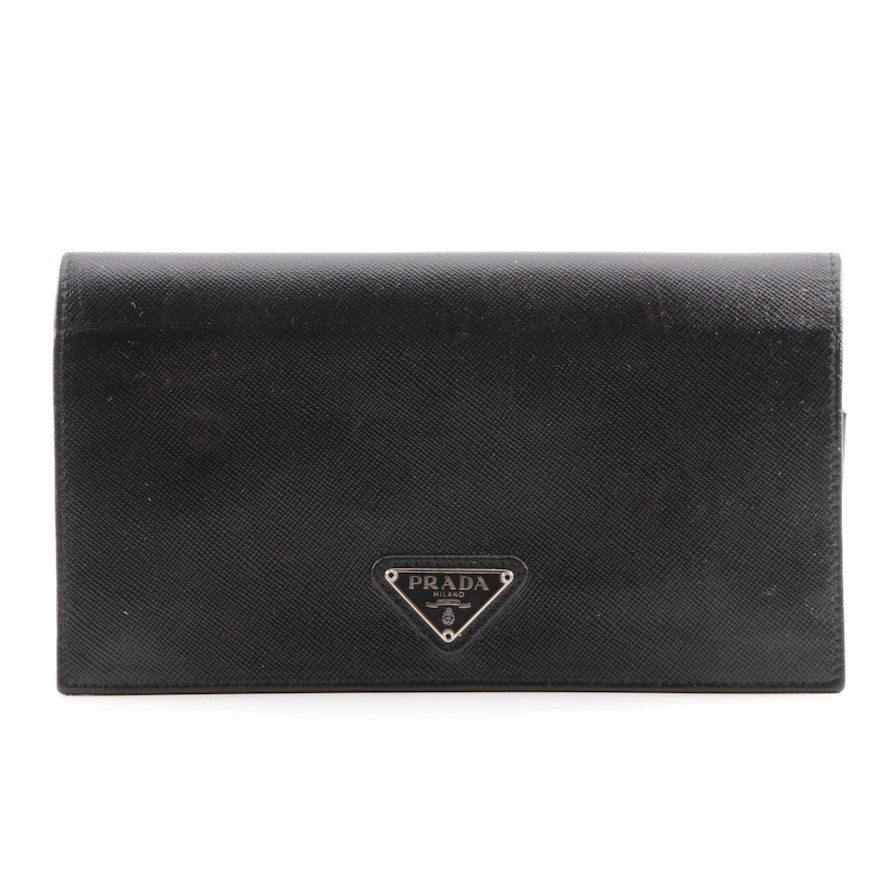 acfd5dbcec9322 Prada Black Saffiano Leather Wallet : EBTH