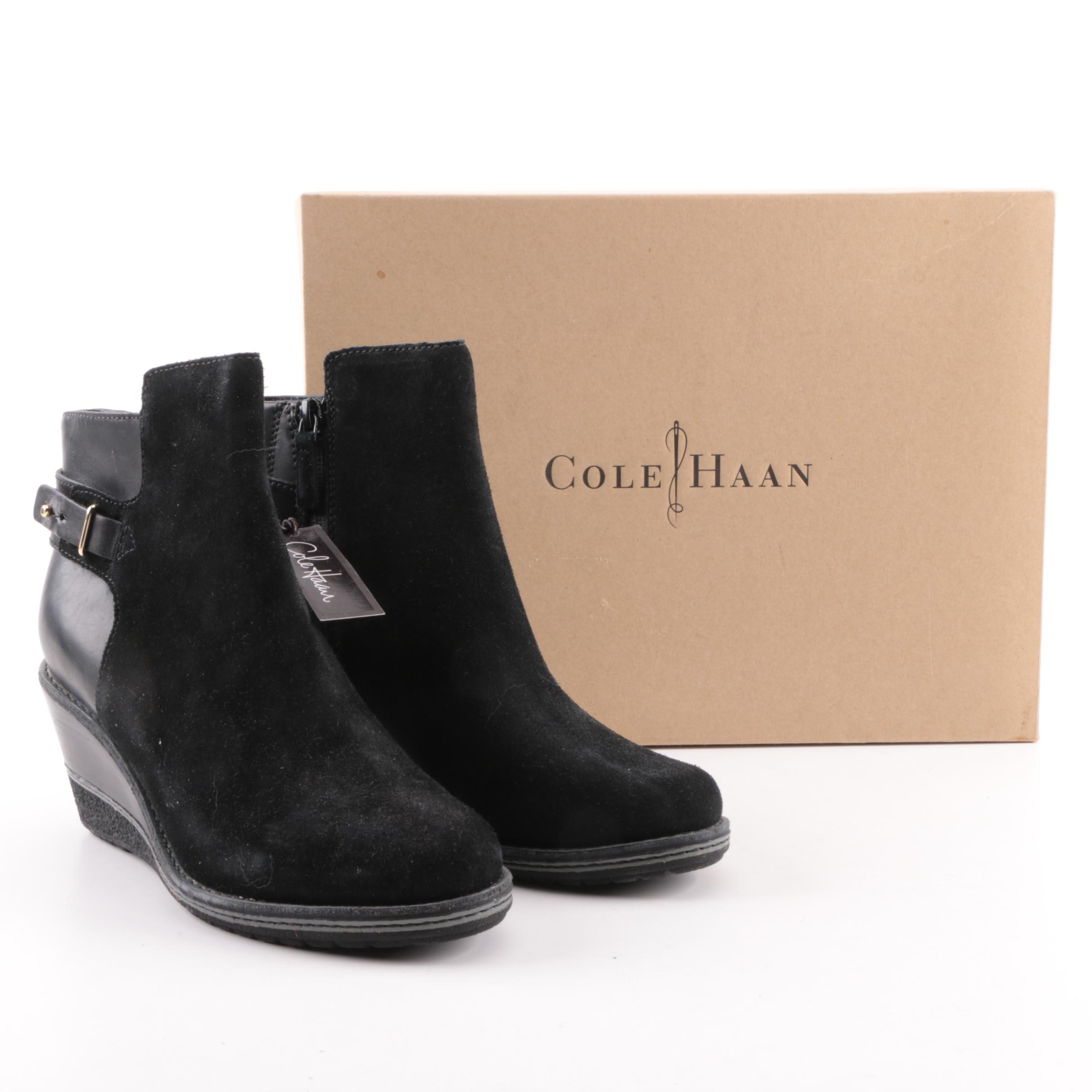Women's Cole Haan Rayna Waterproof Black Suede and Leather Wedge Ankle Boots