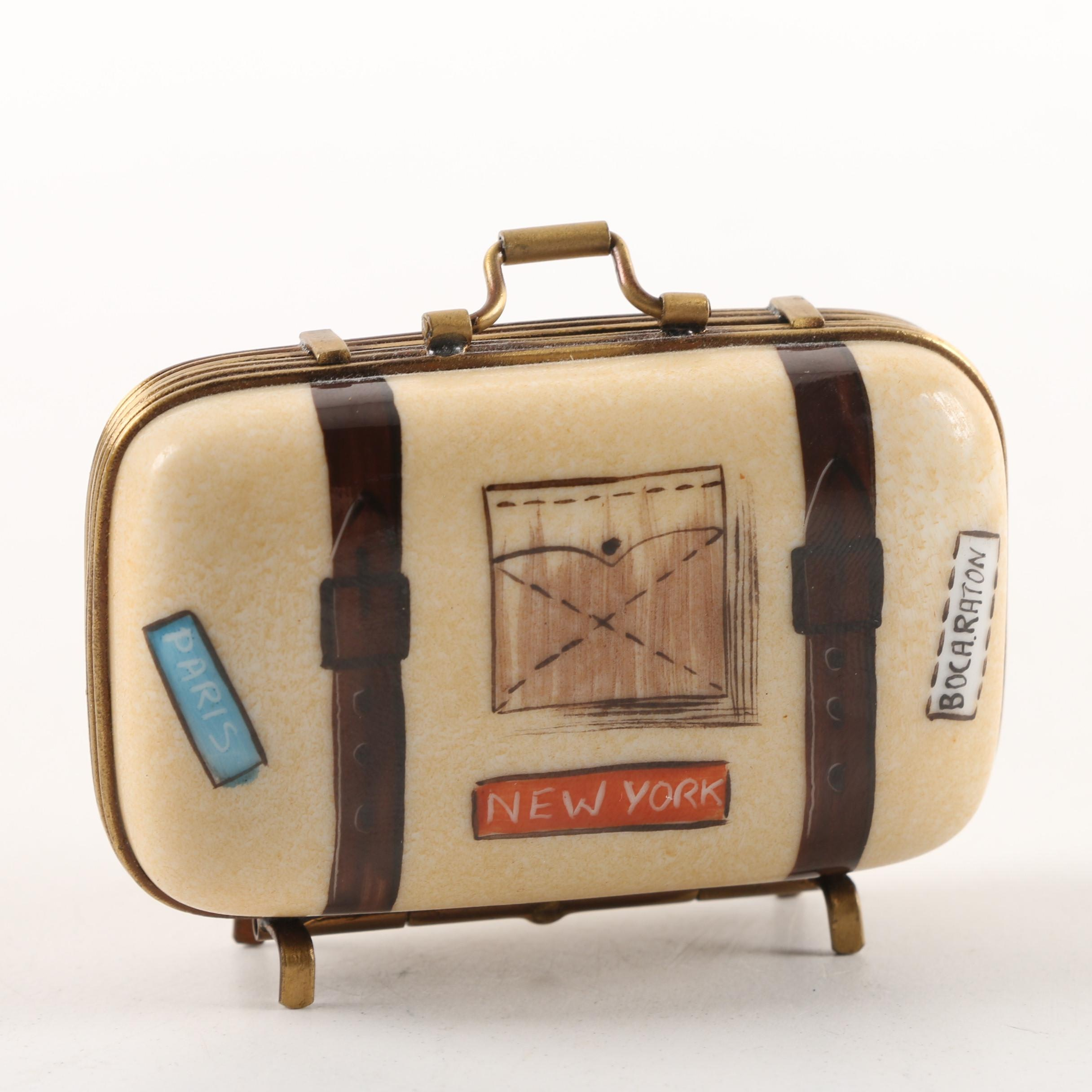 Parry Vielle Limoges Porcelain Suitcase Pill Box