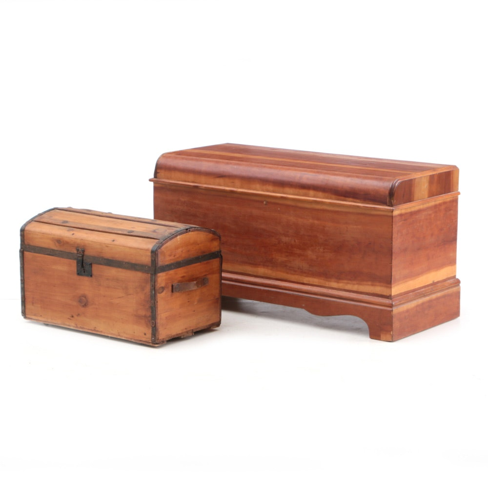Vintage Waterfall Style Cedar Chest by Ed Roos Co.
