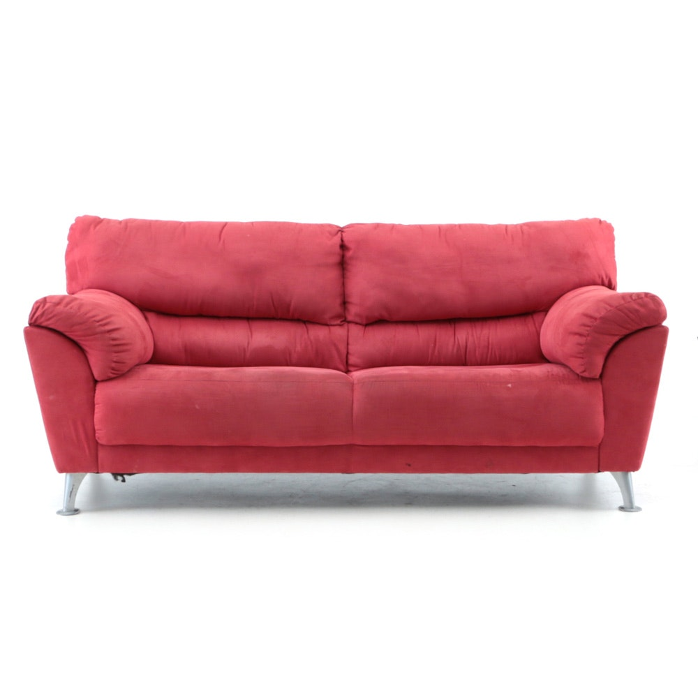 Contemporary Upholstered Red Sofa