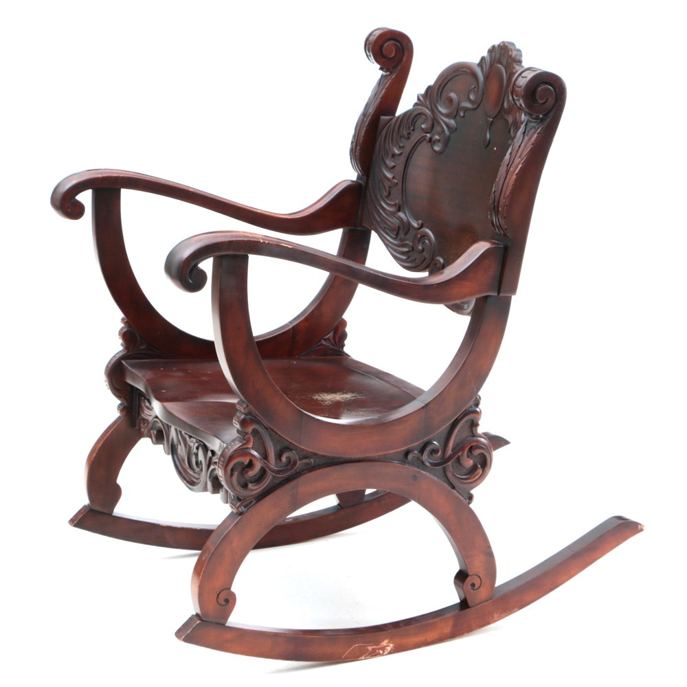Late Victorian Carved Birch Rocking Chair