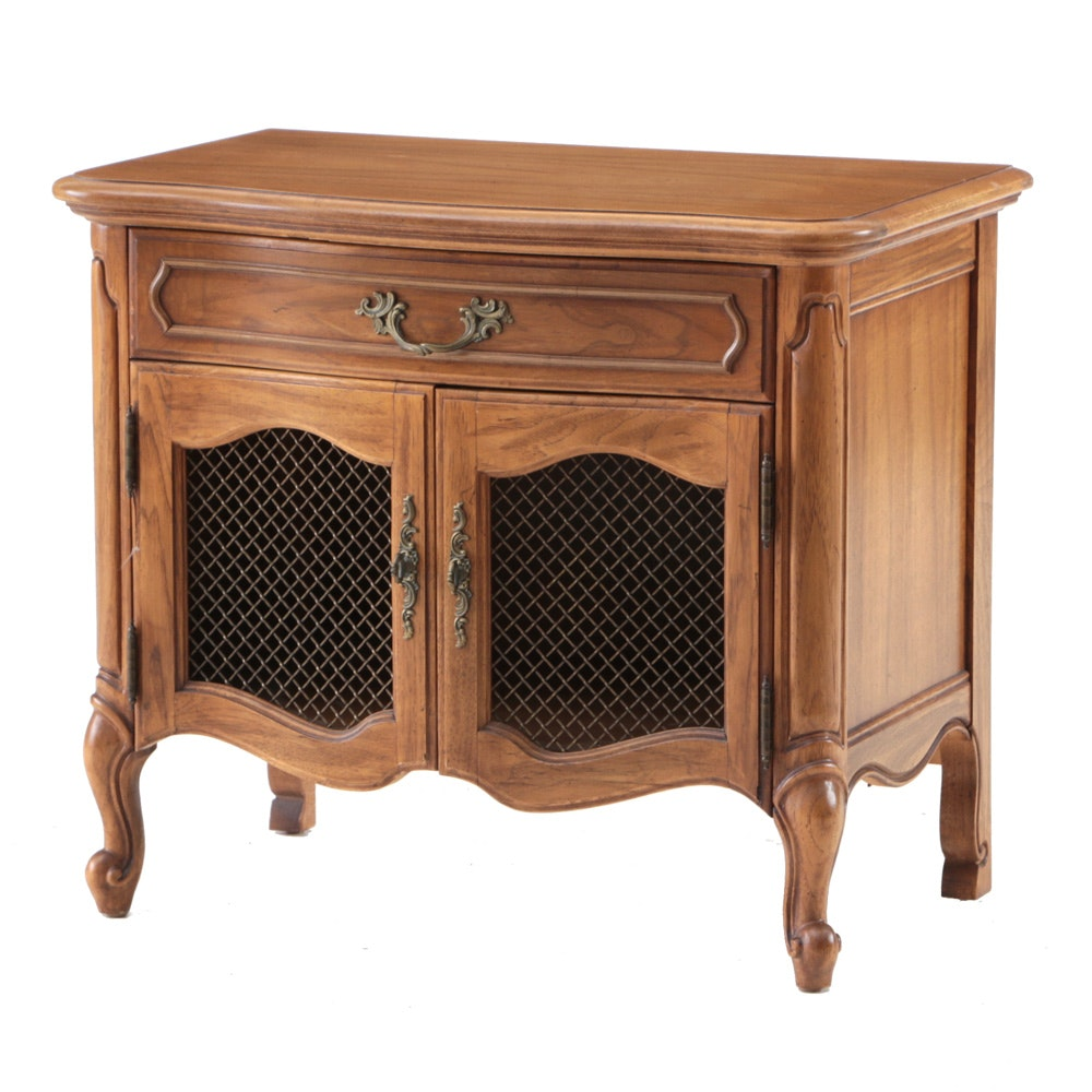 French Provincial Style Pecan Nightstand