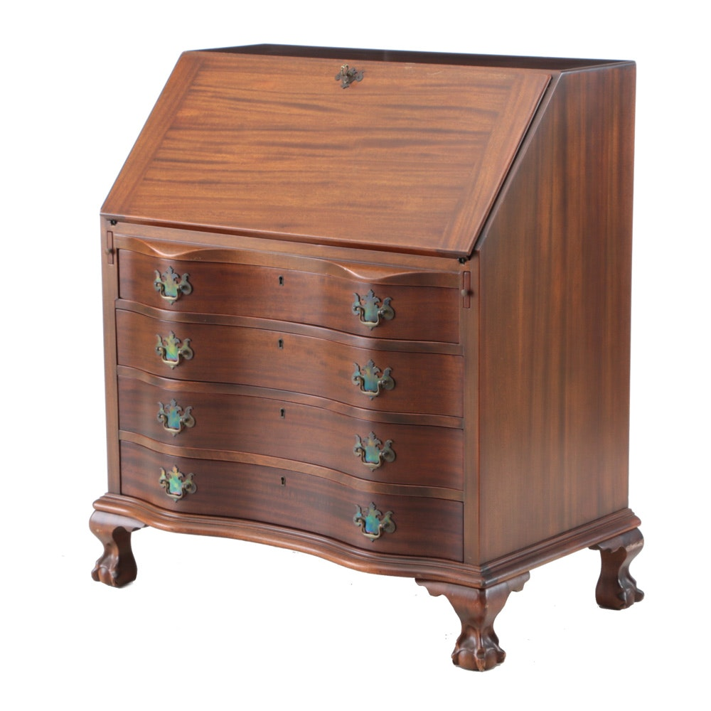 Chippendale Style Mahogany Slant-Lid Desk by Maddox