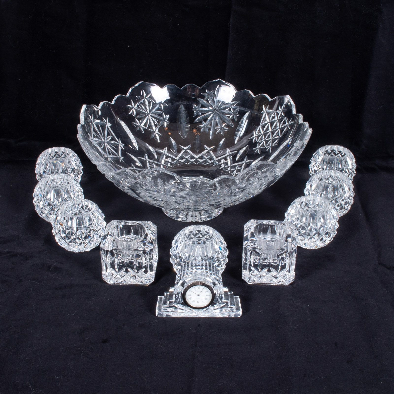 """Waterford Crystal Designers Gallery """"Snow Crystals"""" Centerpiece and Candlesticks"""