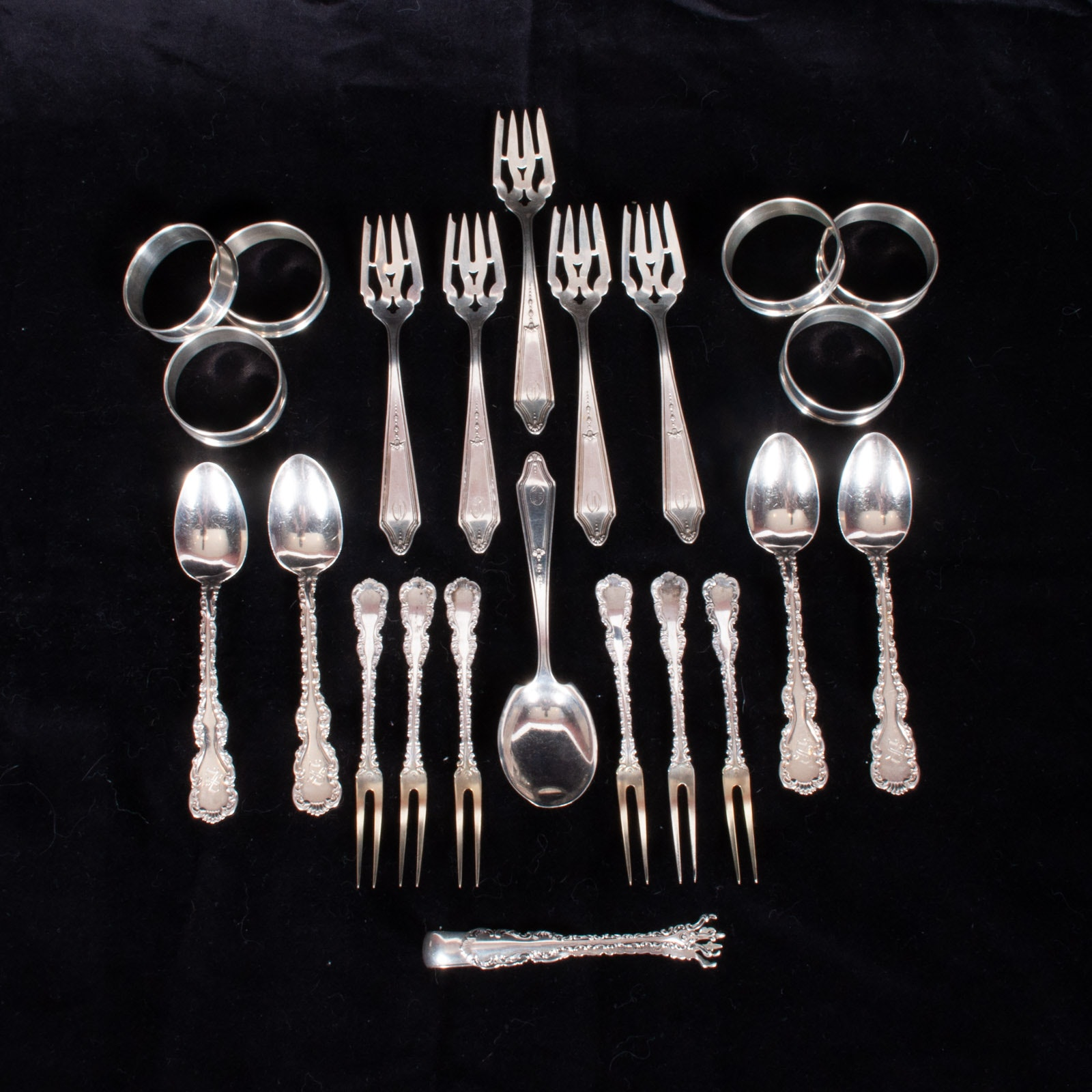 Sterling Silver Napkin Rings, Demitasse Spoons, Sugar Tongs and Two Tine Forks