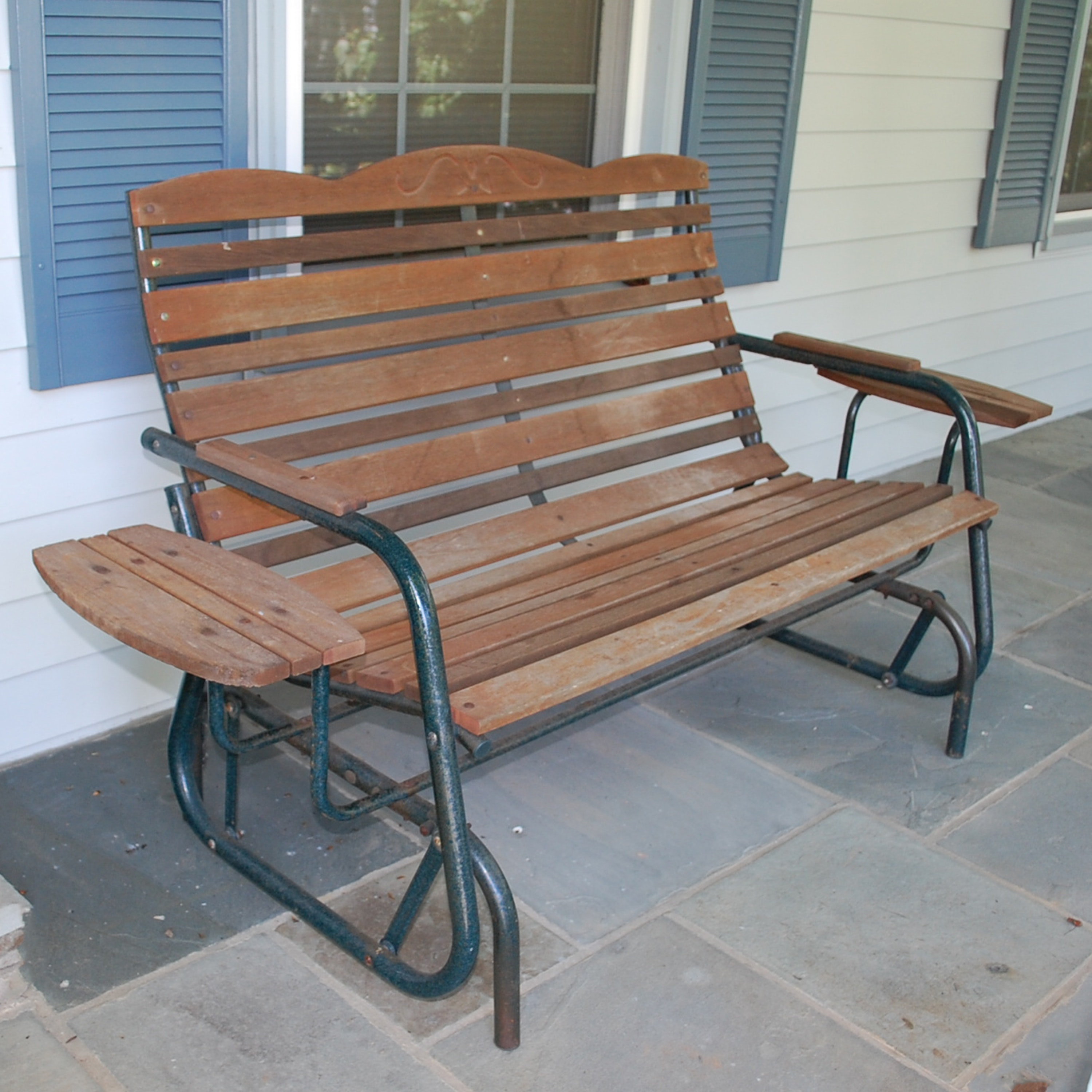 Wood and Metal Porch Glider