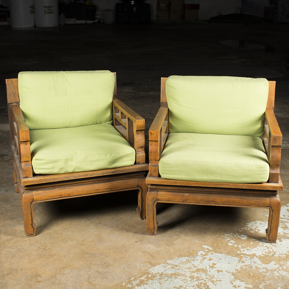 Vintage Chinese Inspired Armchairs with Green Cushions