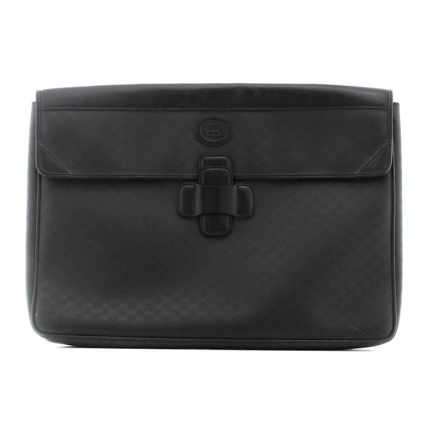 e8bc088cc095 Gucci Monogram Canvas Leather Trimmed Laptop Bag