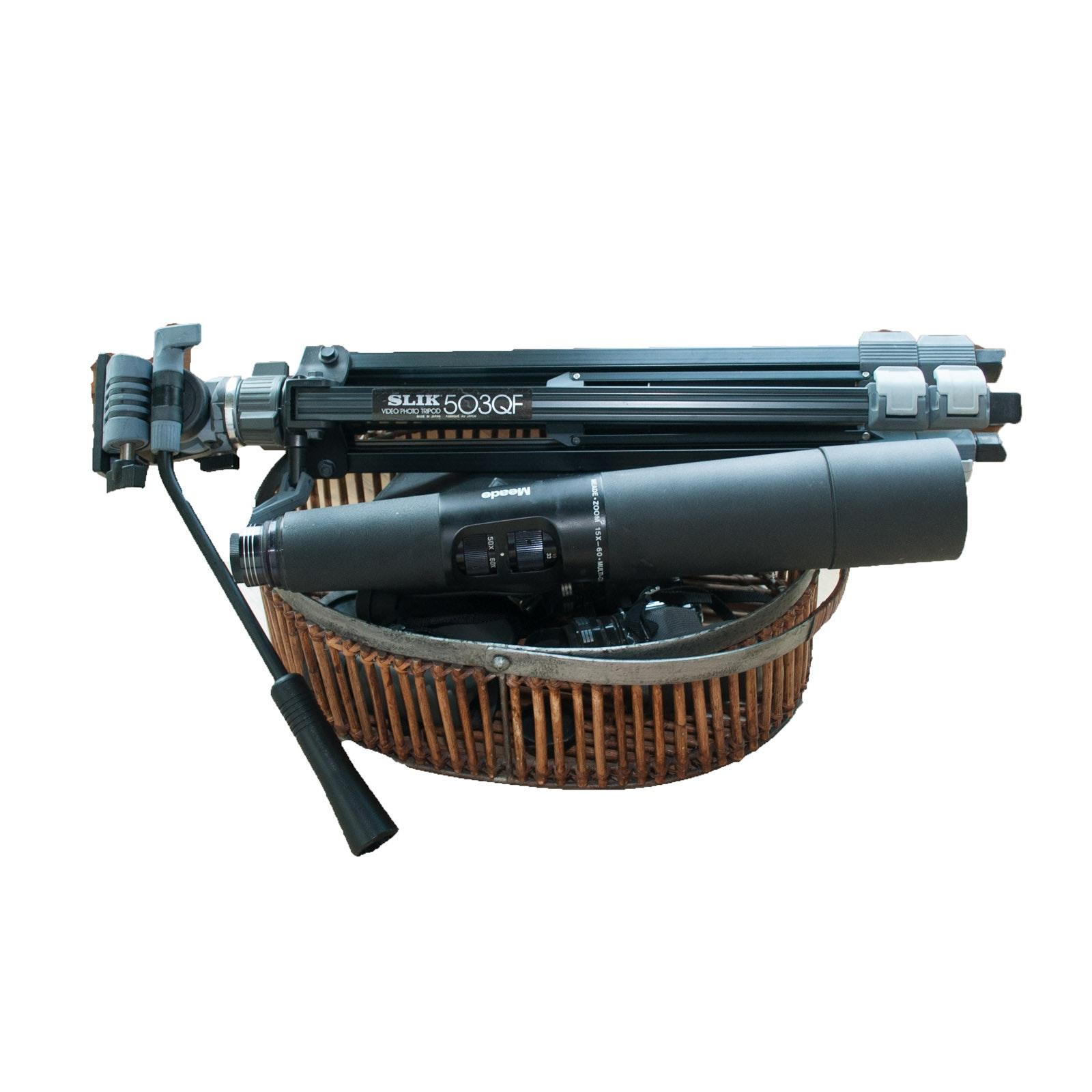 Meade Telescope, Slik Tripod and Binoculars