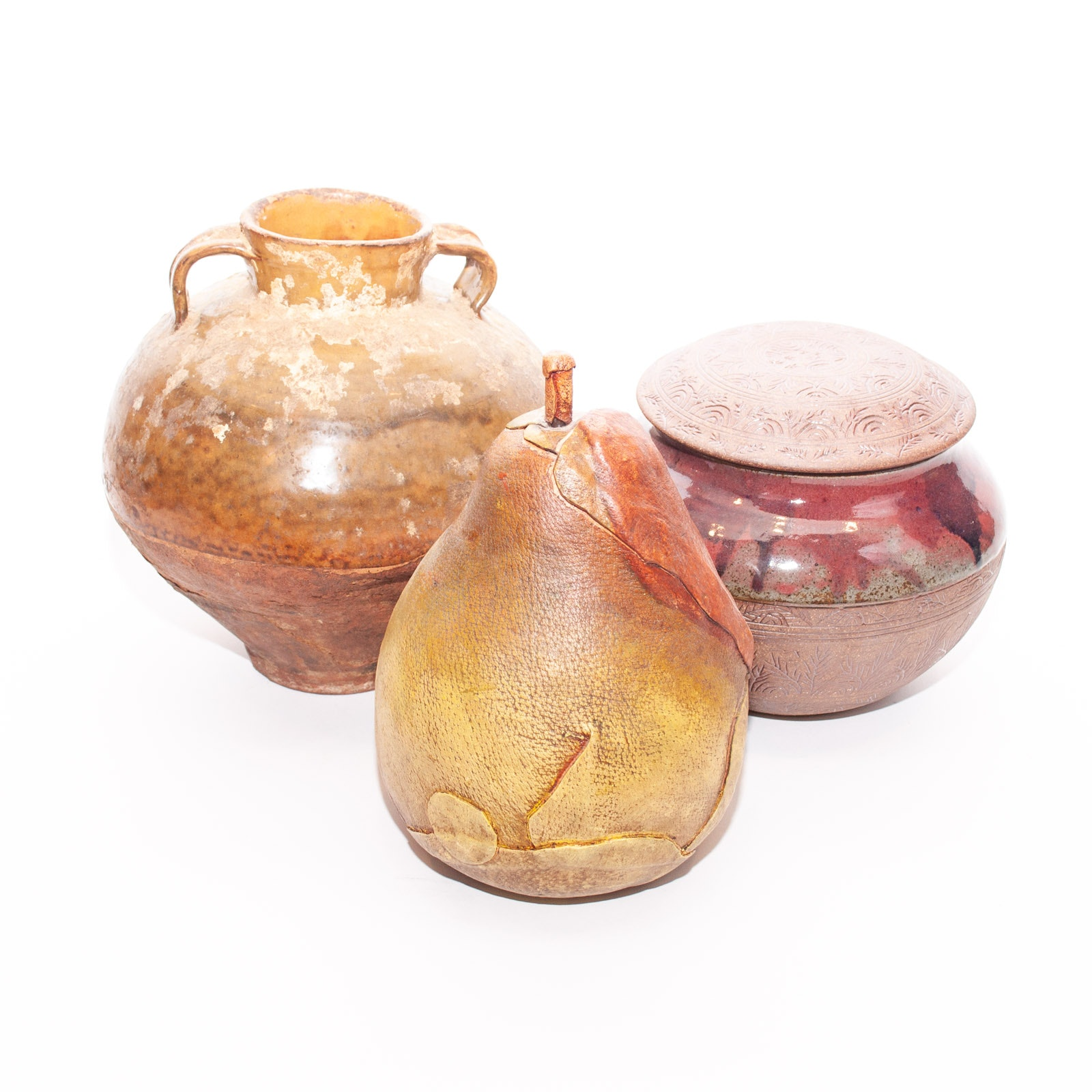 Decorative Pottery Pots Including Hand Built and Intentionally Distressed Pots