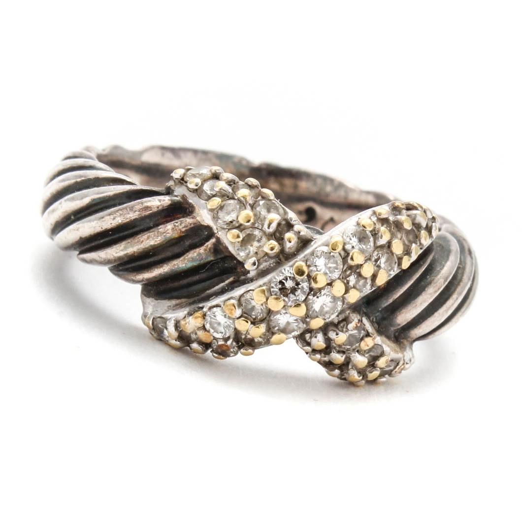 David Yurman 14K Gold-Accented Sterling Silver Diamond Ring
