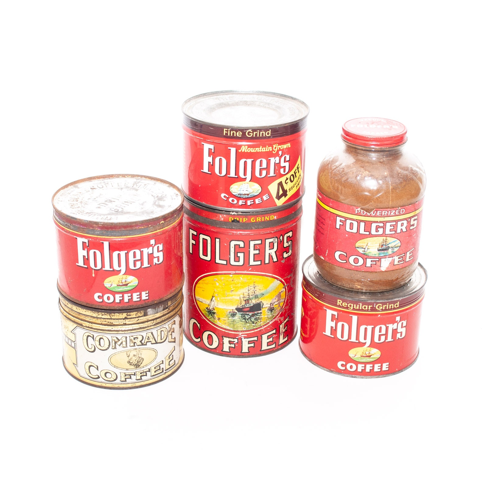 Vintage Folgers Coffee Cans and Jar