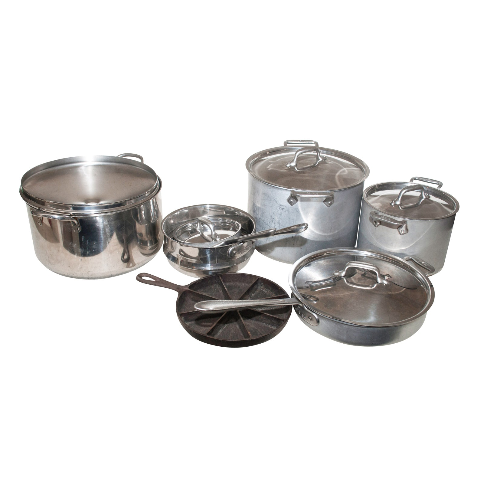 Assorted Pots and Pans Including All-Clad