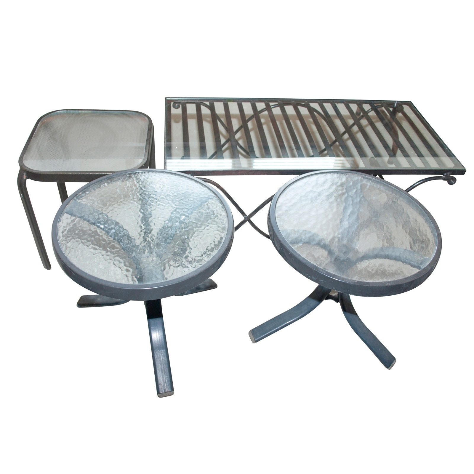 Assortment of Glass Top Patio Tables