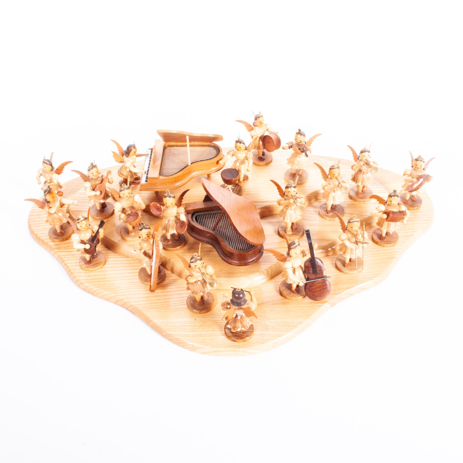 Vintage Erzgebirge Expertic Miniature Wooden Angels with Musical Instruments