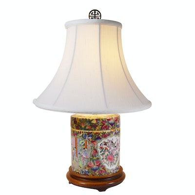 "Chinese ""Rose Medallion"" Porcelain Jar Table Lamp"