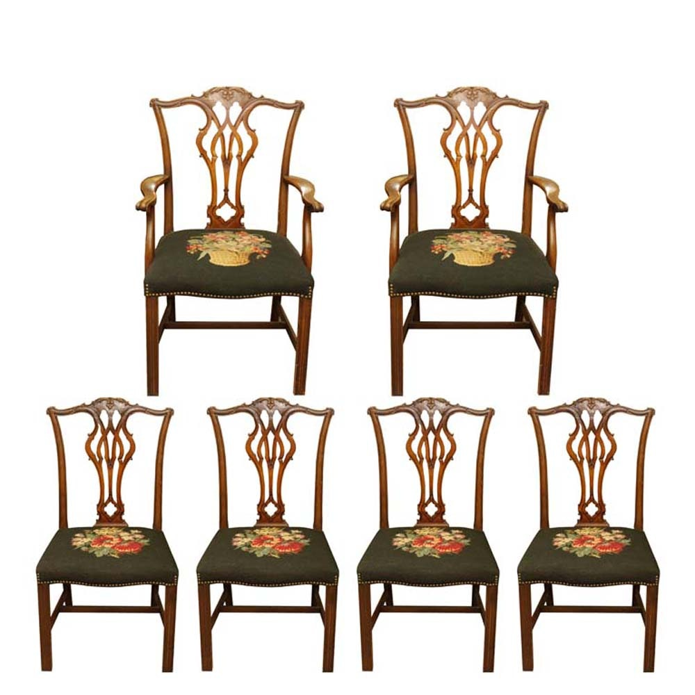 Chippendale Style Dining Chairs with Needlepoint Seats